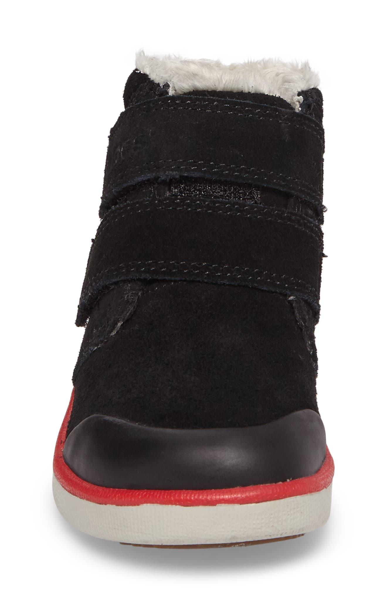 Samantha Faux Fur Waterproof Boot,                             Alternate thumbnail 4, color,                             Black/ Black