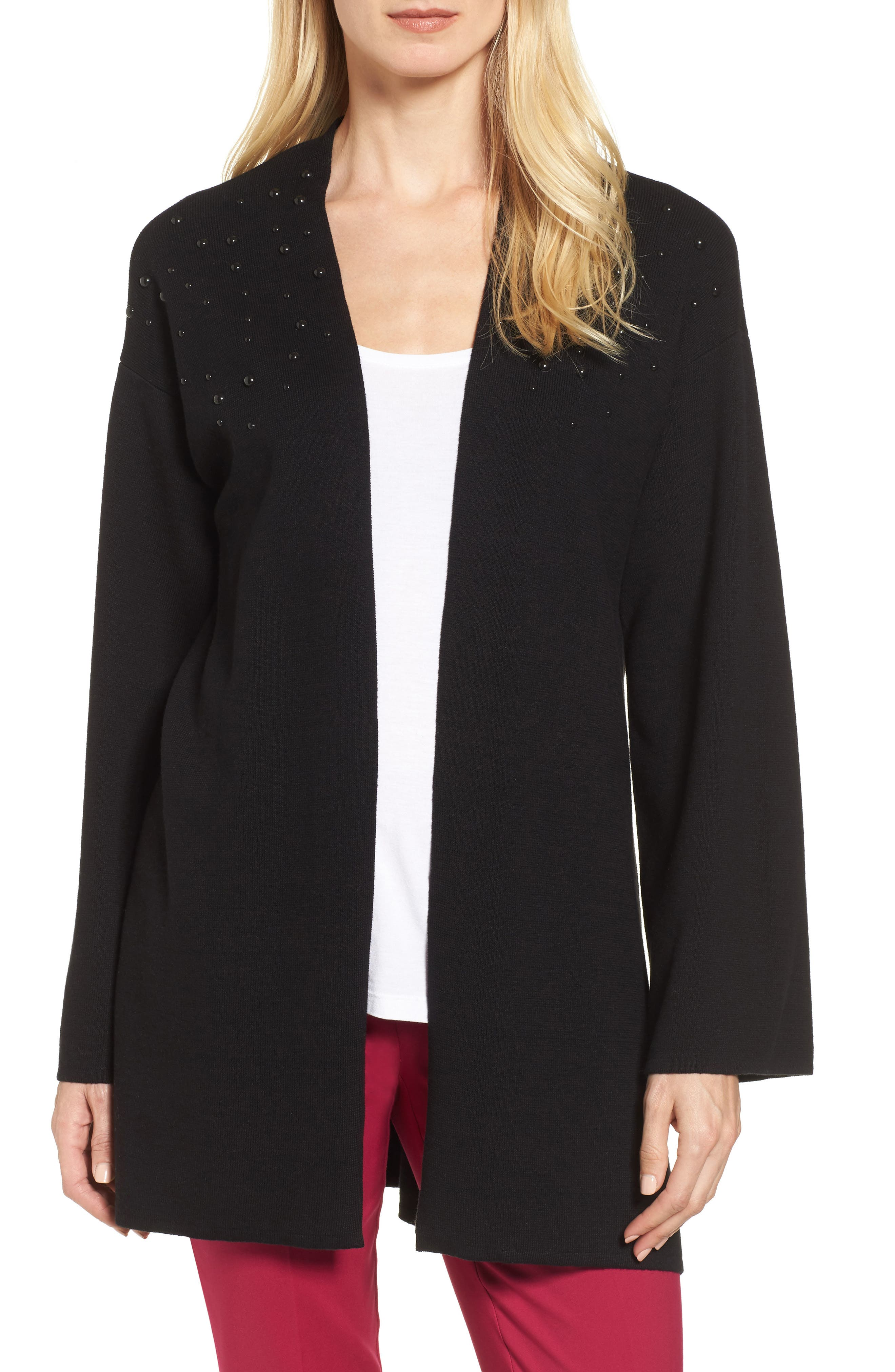 Long Sleeve Beaded Cardigan,                         Main,                         color, Rich Black