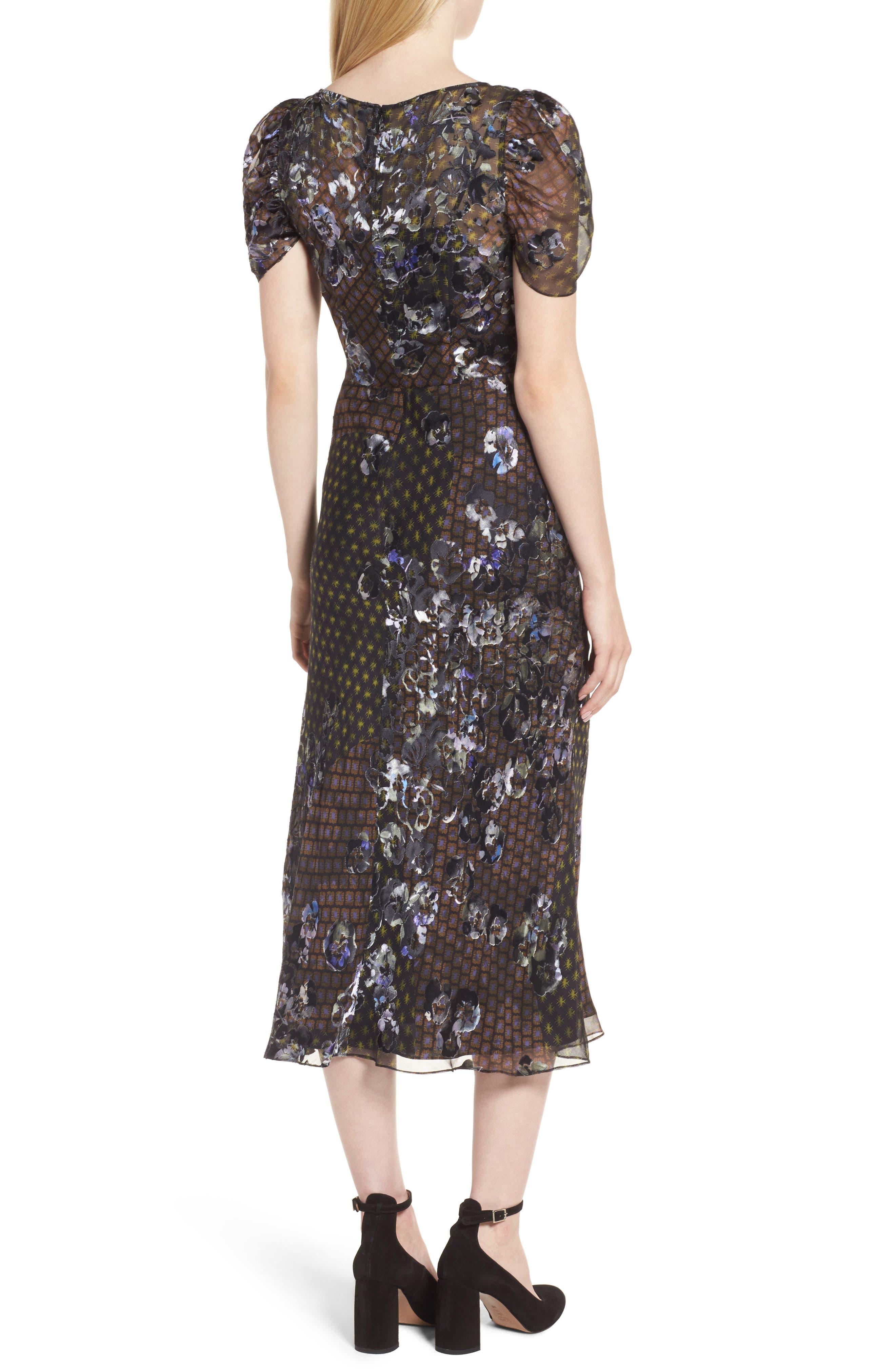 Alternate Image 2  - Lewit Puff Sleeve Devore Jacquard Midi Dress
