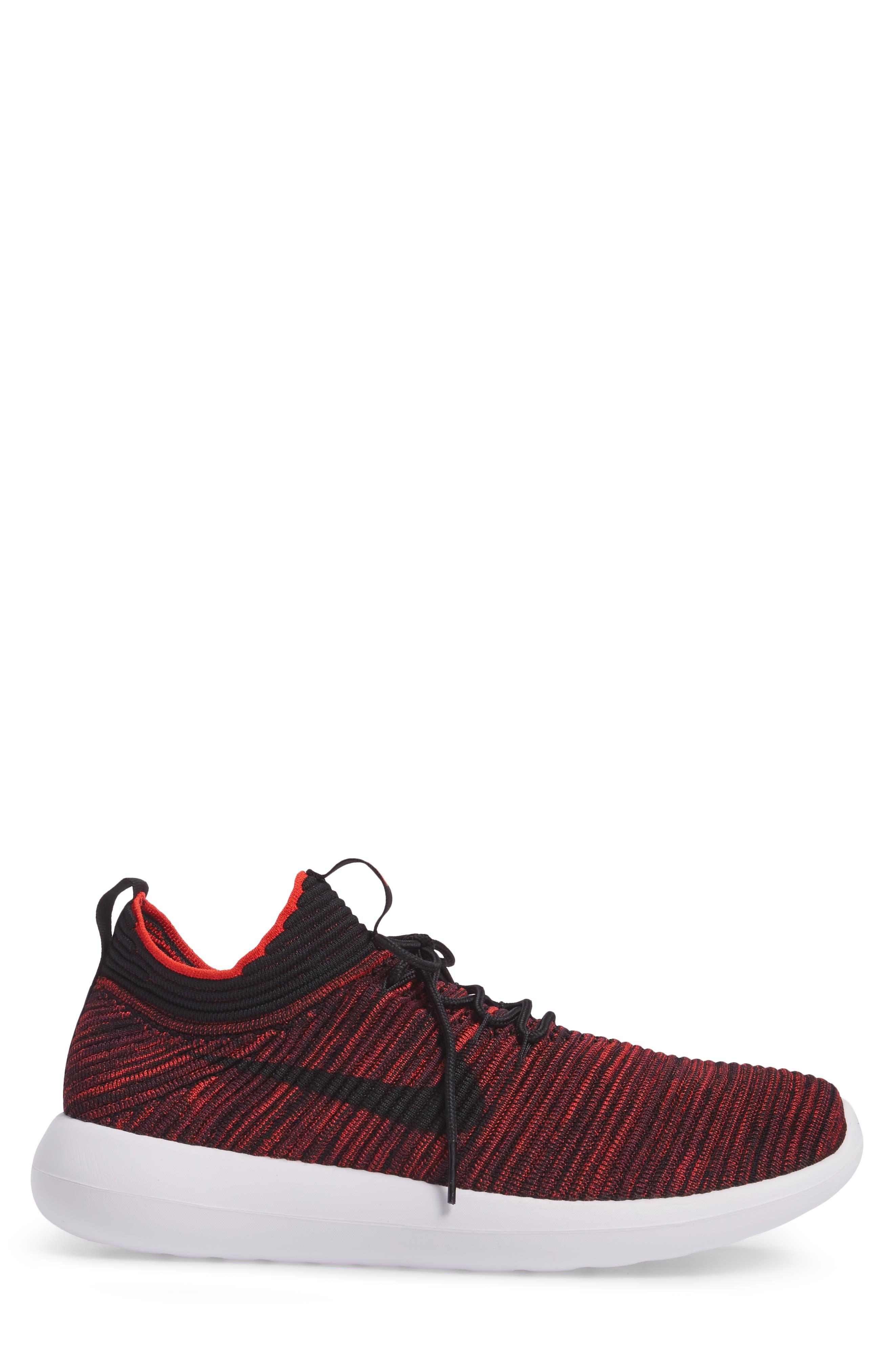 Roshe Two Flyknit V2 Sneaker,                             Alternate thumbnail 4, color,                             Chile Red/ Black