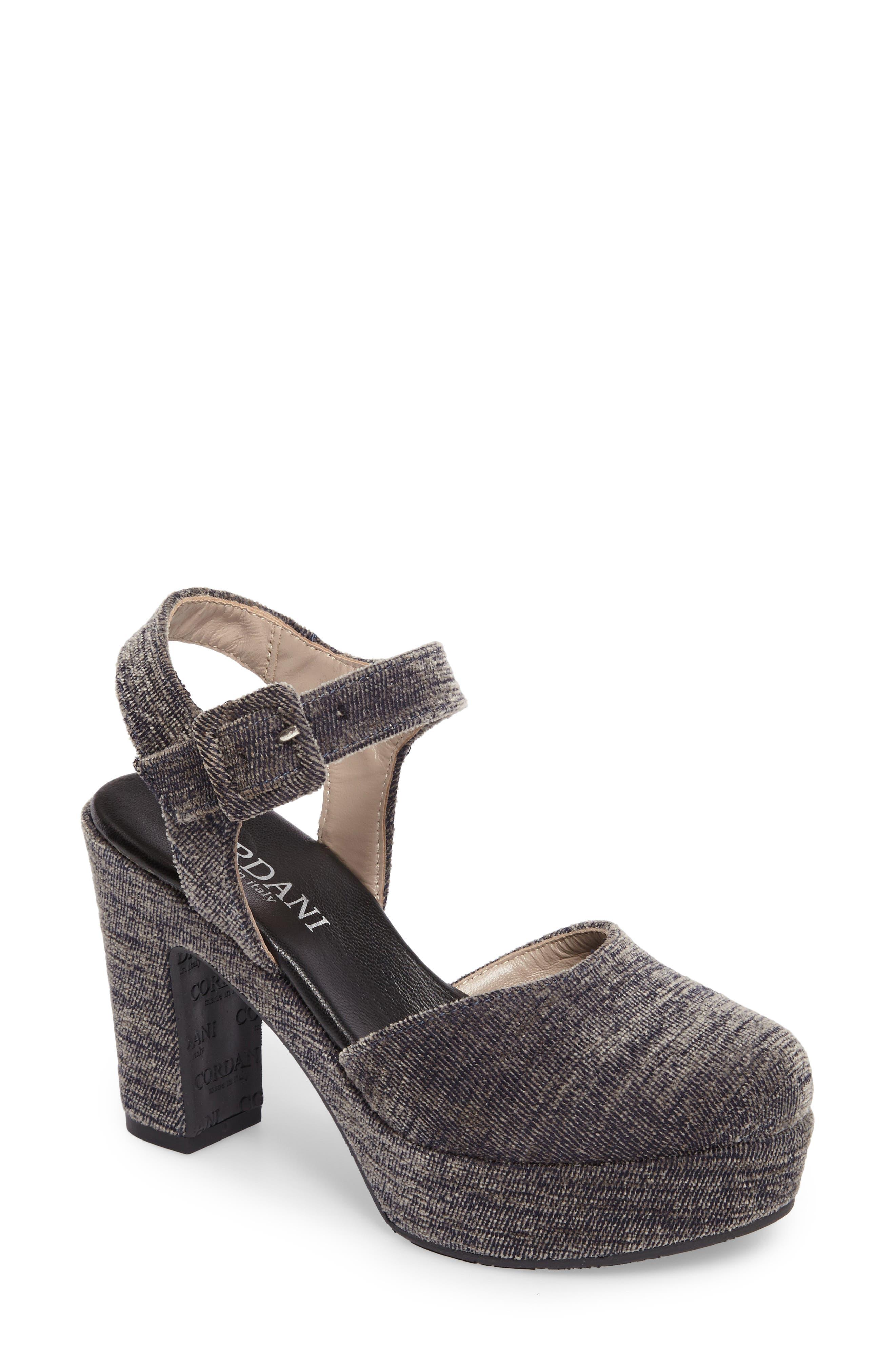 Torin Ankle Strap Platform Pump,                         Main,                         color, Grey Crushed Velvet