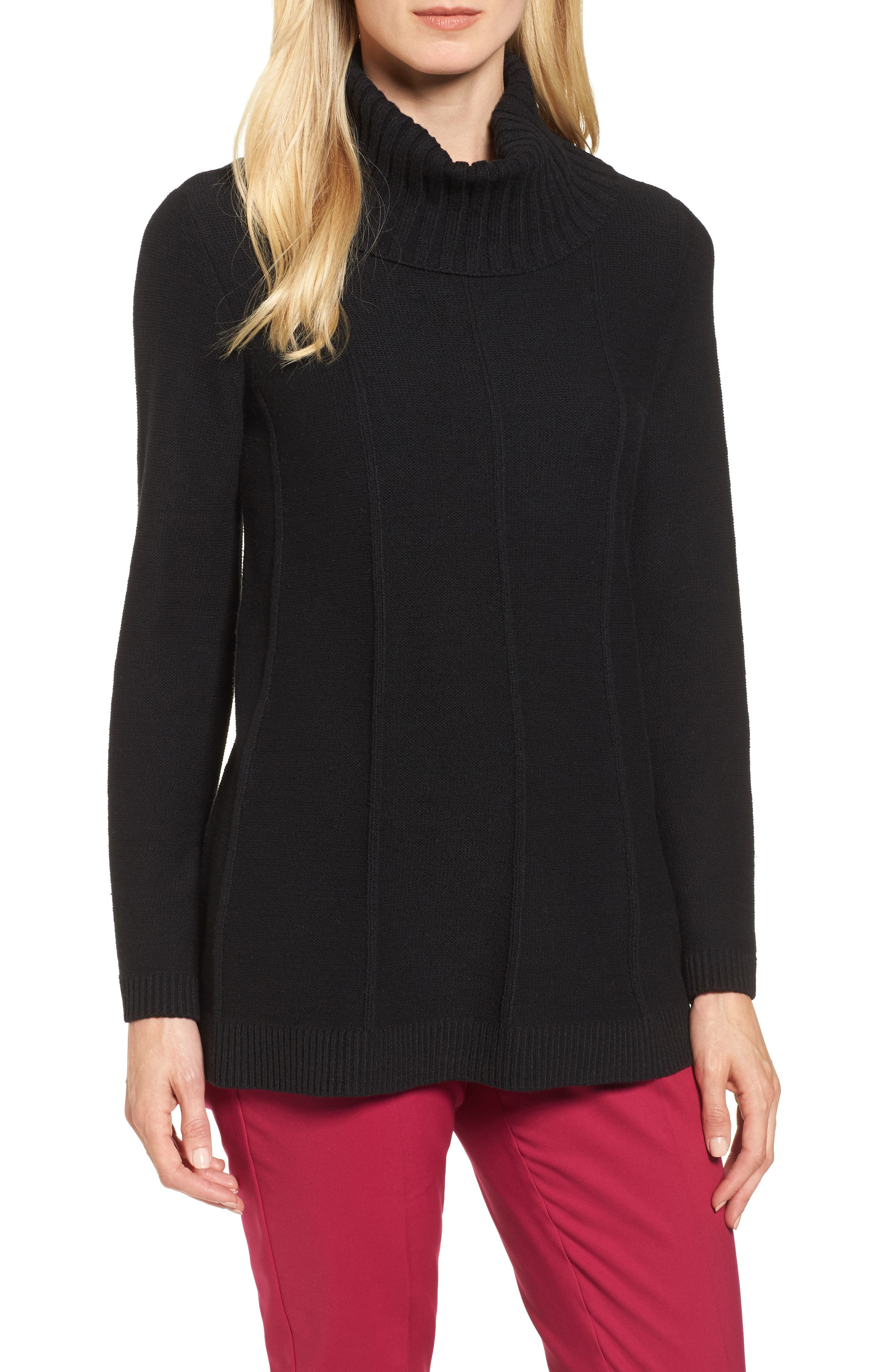 Cowl Neck Bell Sleeve Ribbed Sweater,                         Main,                         color, Rich Black