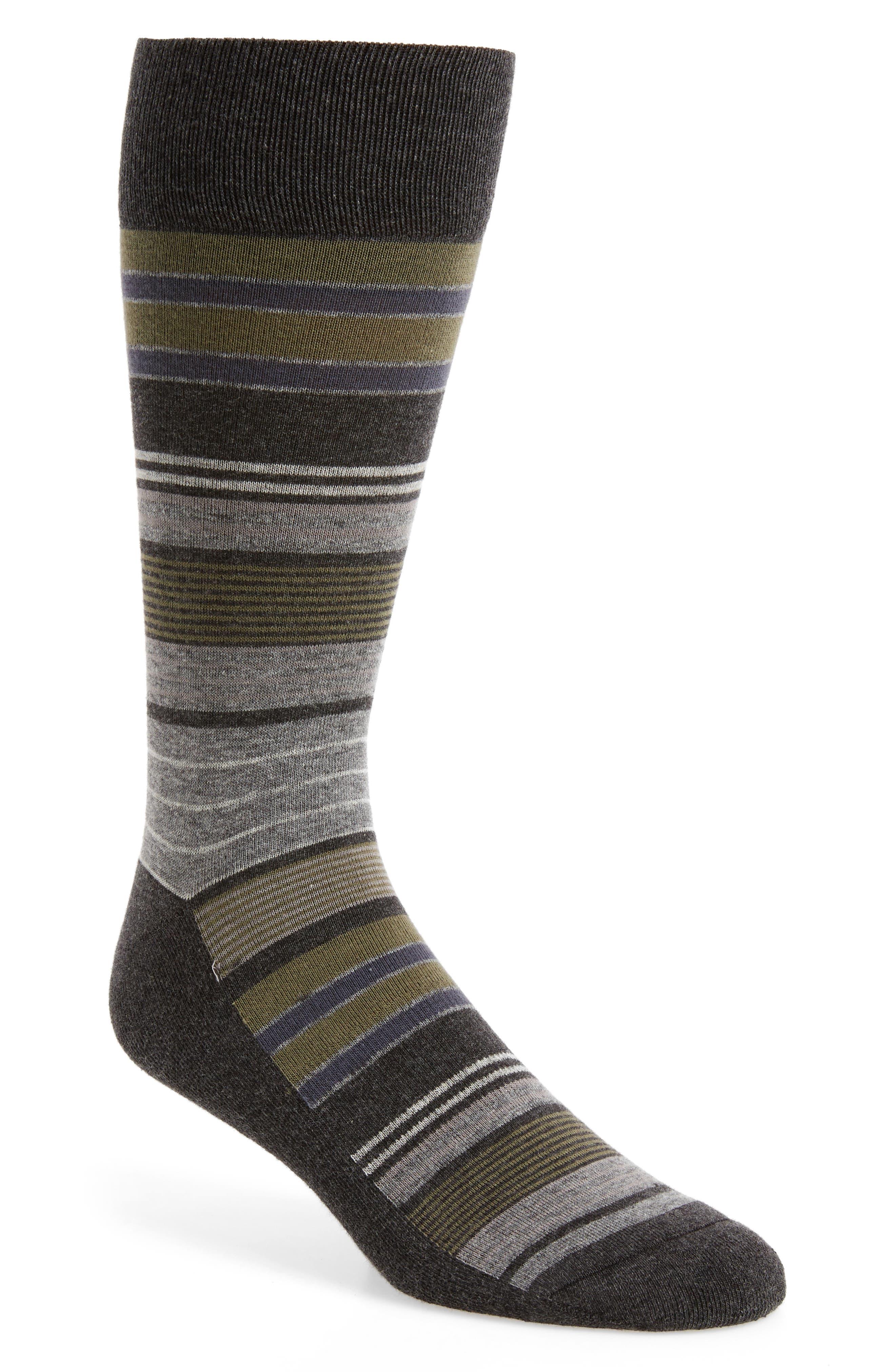 Random Stripe Socks,                         Main,                         color, Charcoal Heather