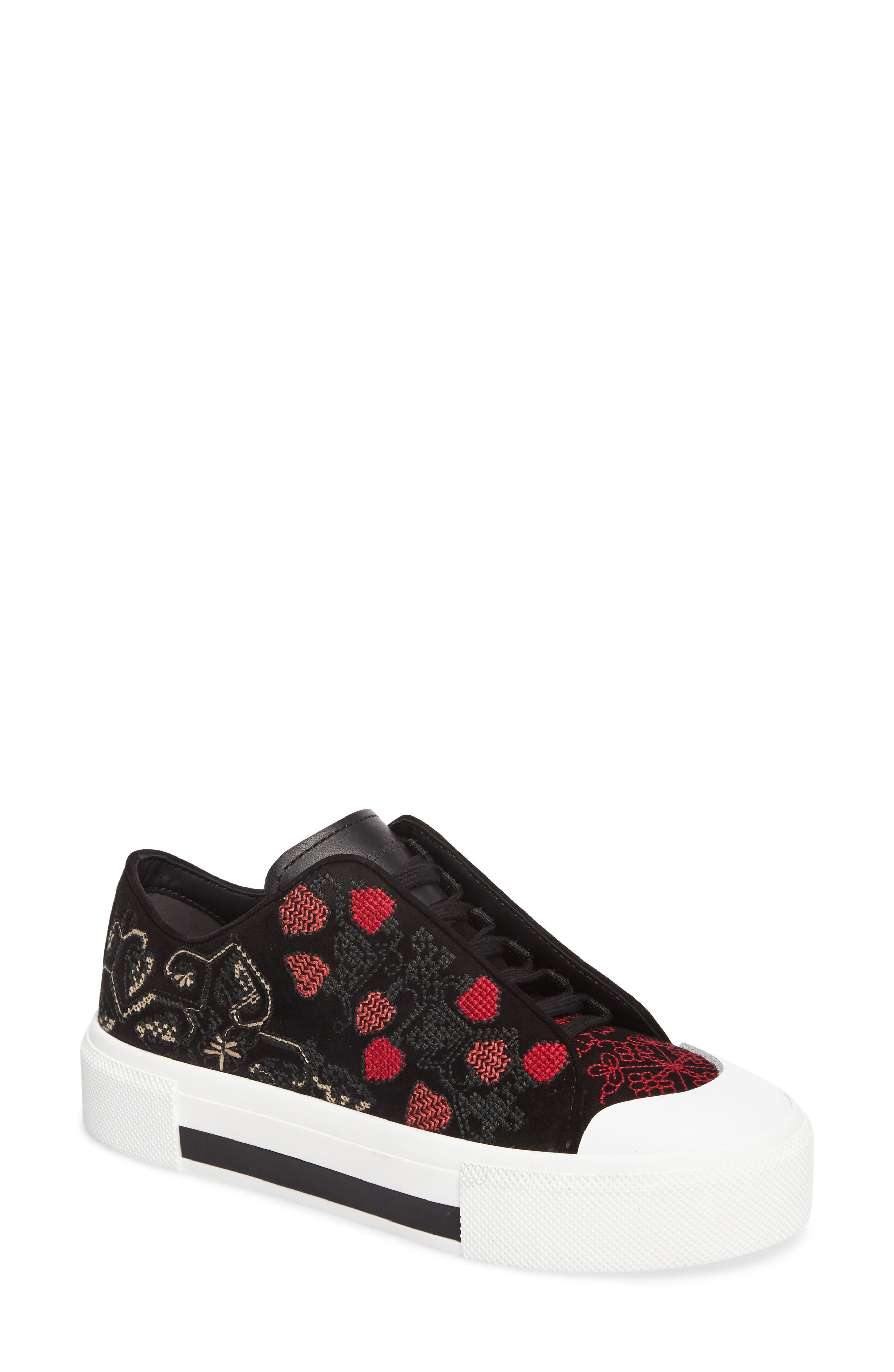 Cap Toe Platform Sneaker,                             Main thumbnail 1, color,                             Black/ Red