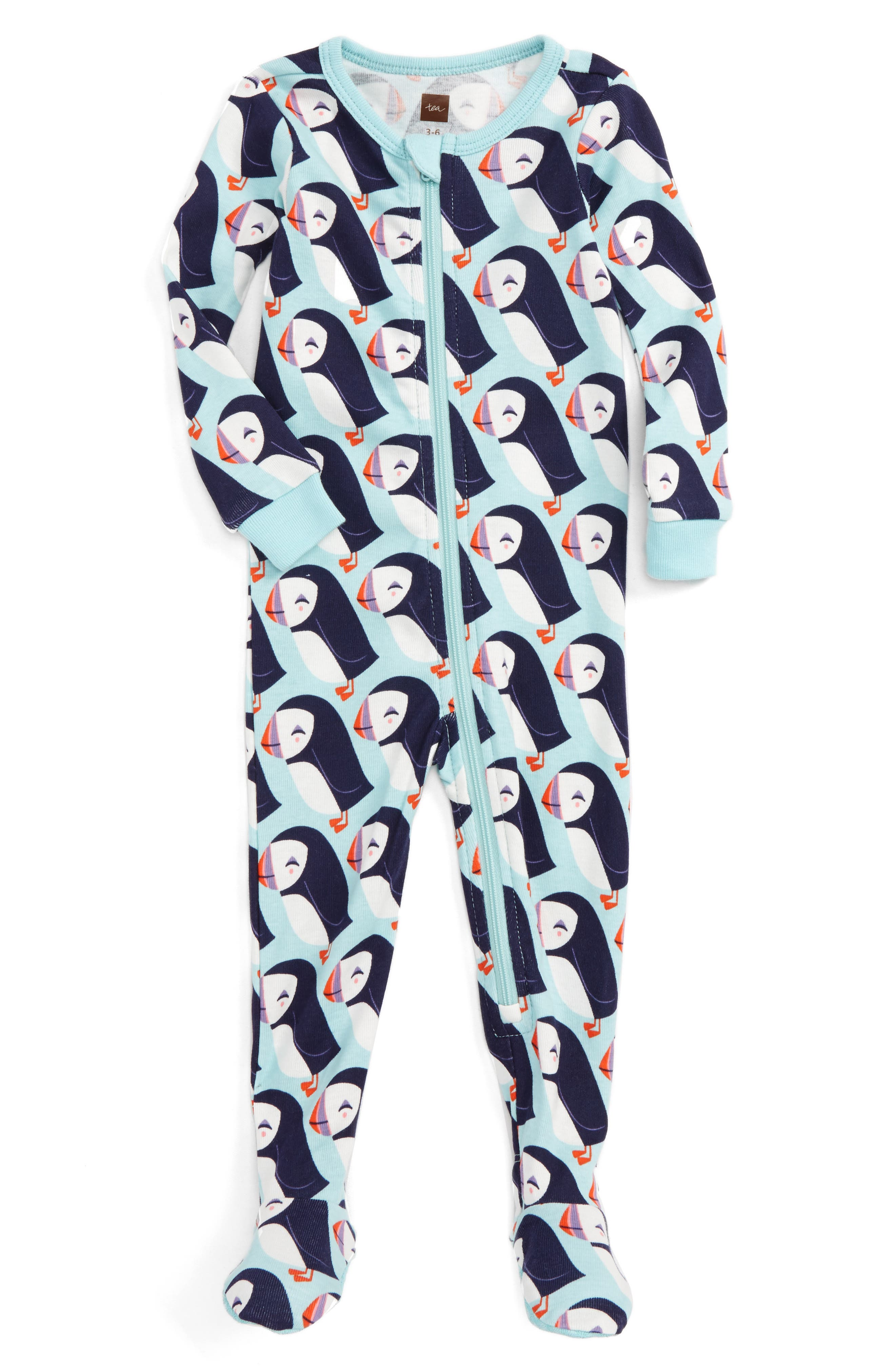 Alternate Image 1 Selected - Tea Collection Puffin Fitted One-Piece Pajamas (Baby Girls)