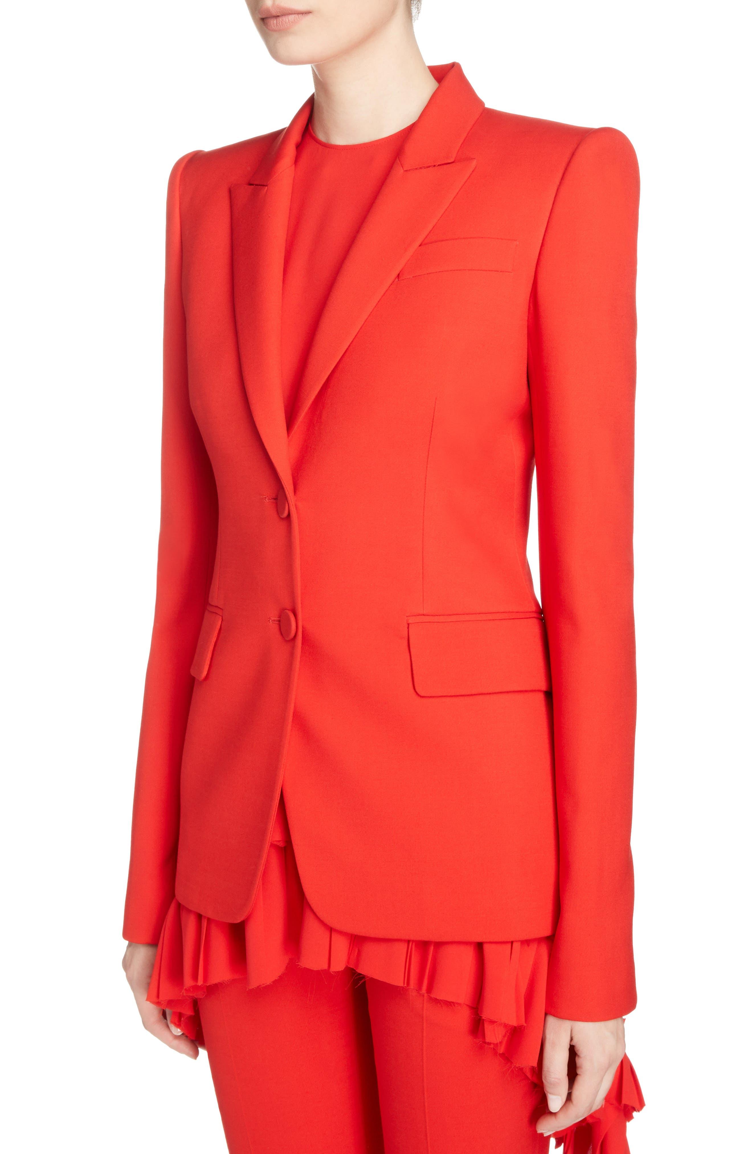 Wool & Silk Blend Blazer,                             Alternate thumbnail 4, color,                             Lust Red