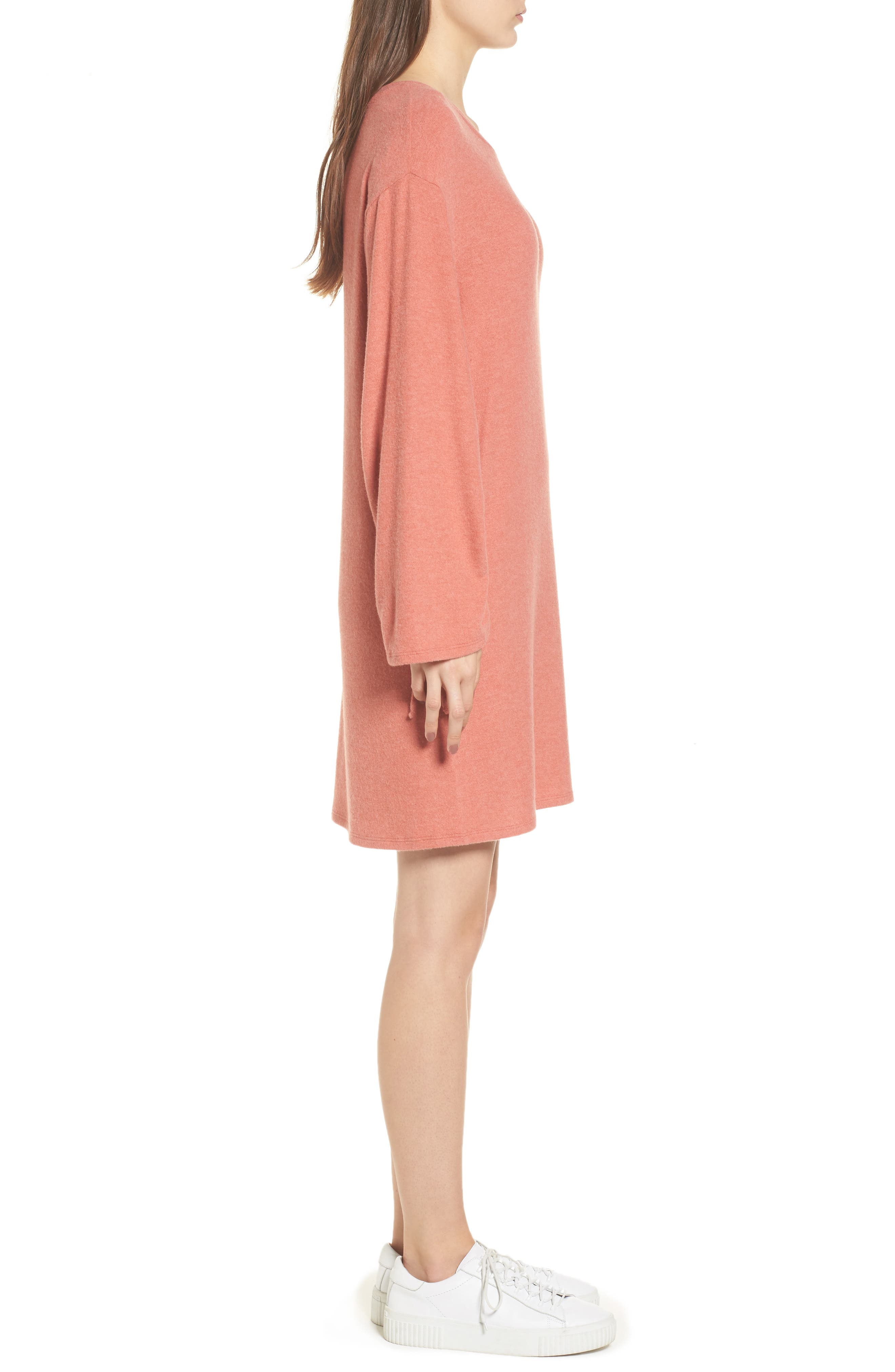 Ruched Sleeve Sweater Dress,                             Alternate thumbnail 3, color,                             Paprika