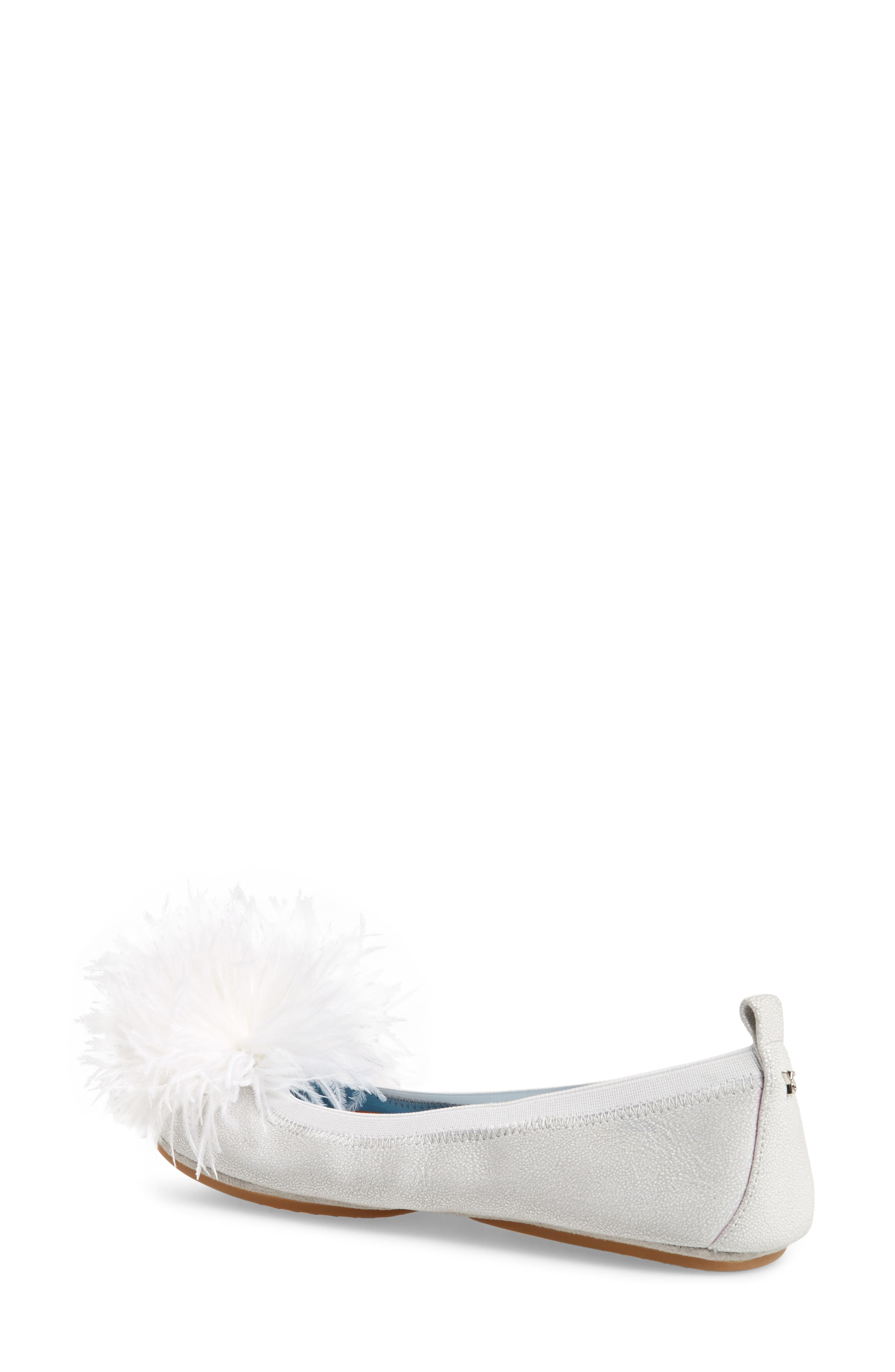 Marabou Feather Pompom Flat,                             Alternate thumbnail 2, color,                             Silver Leather