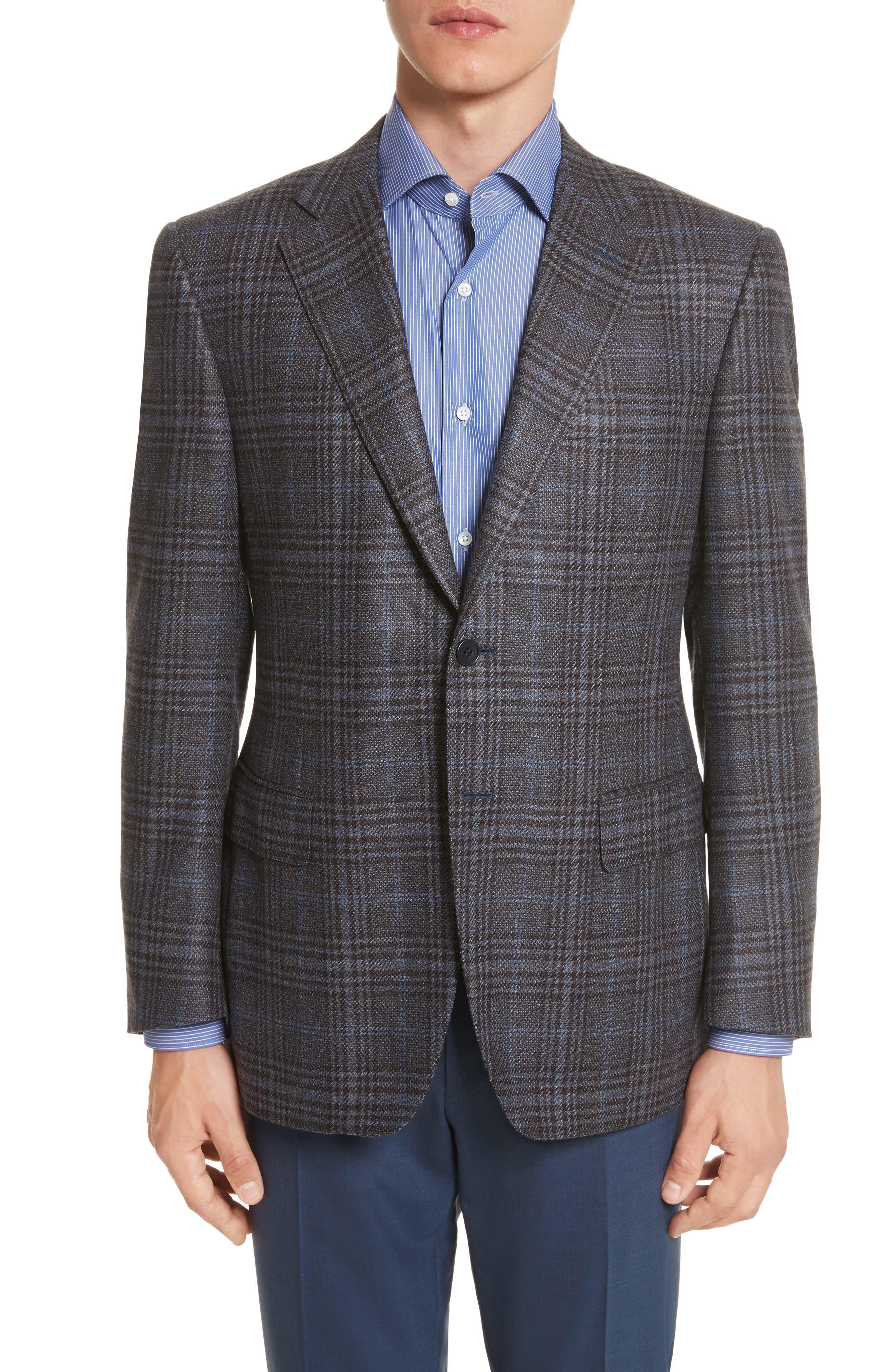 Classic Fit Plaid Wool Sport Coat,                         Main,                         color, Blue