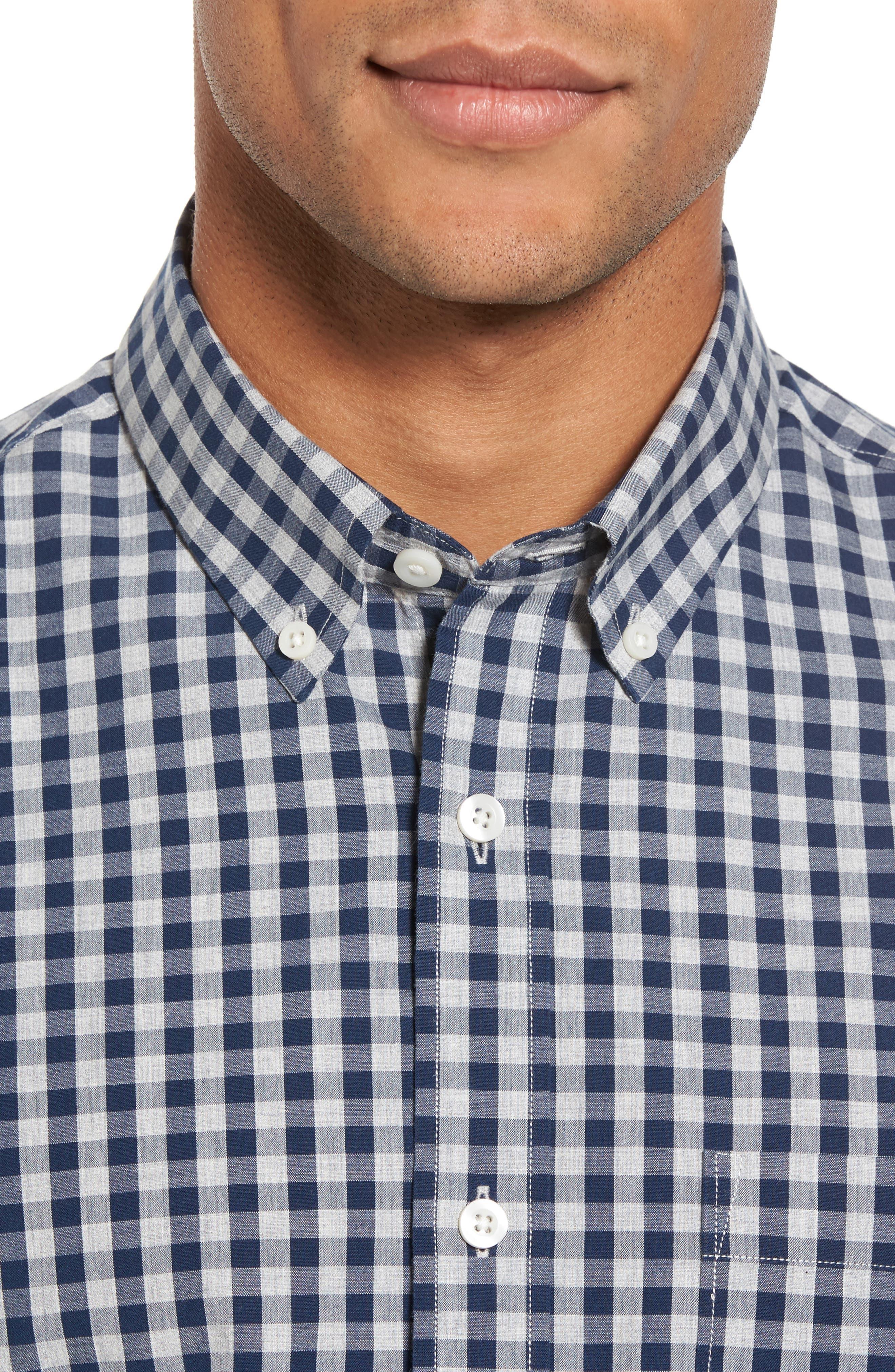 Spade Trim Fit Gingham Check Sport Shirt,                             Alternate thumbnail 2, color,                             Grey Shade Navy Gingham