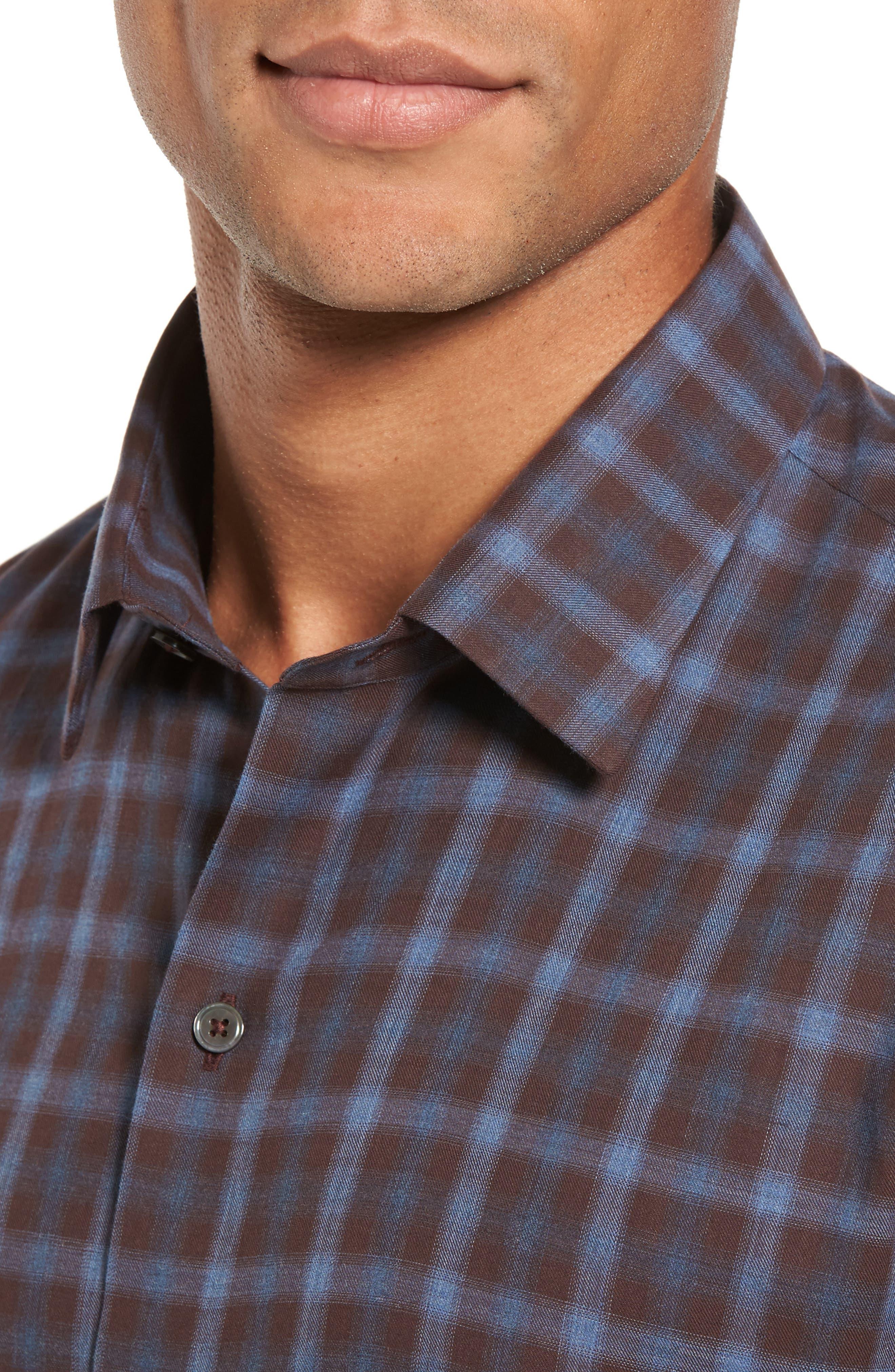 Fathollahi Slim Fit Plaid Sport Shirt,                             Alternate thumbnail 4, color,                             Brown