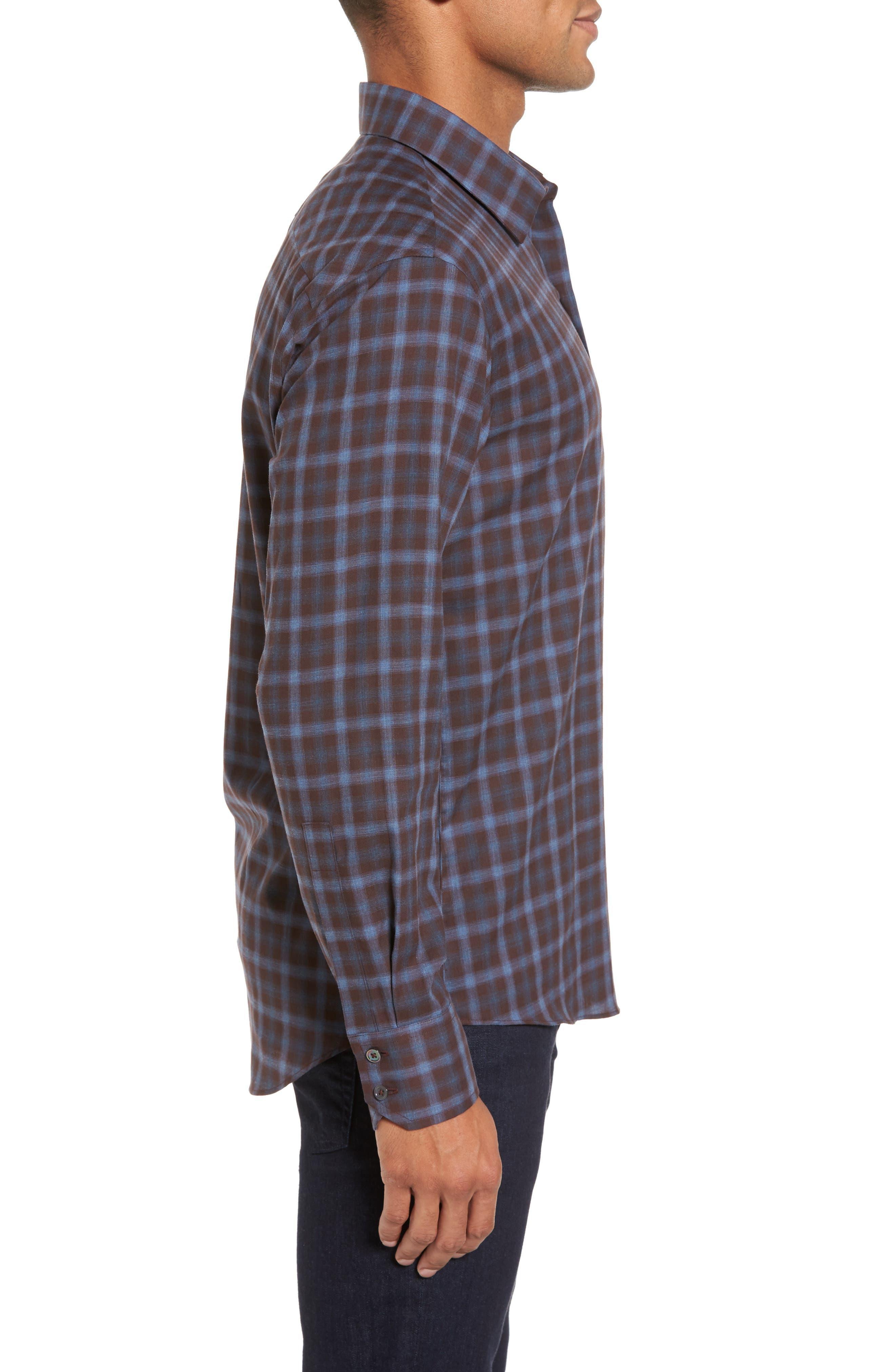 Fathollahi Slim Fit Plaid Sport Shirt,                             Alternate thumbnail 3, color,                             Brown