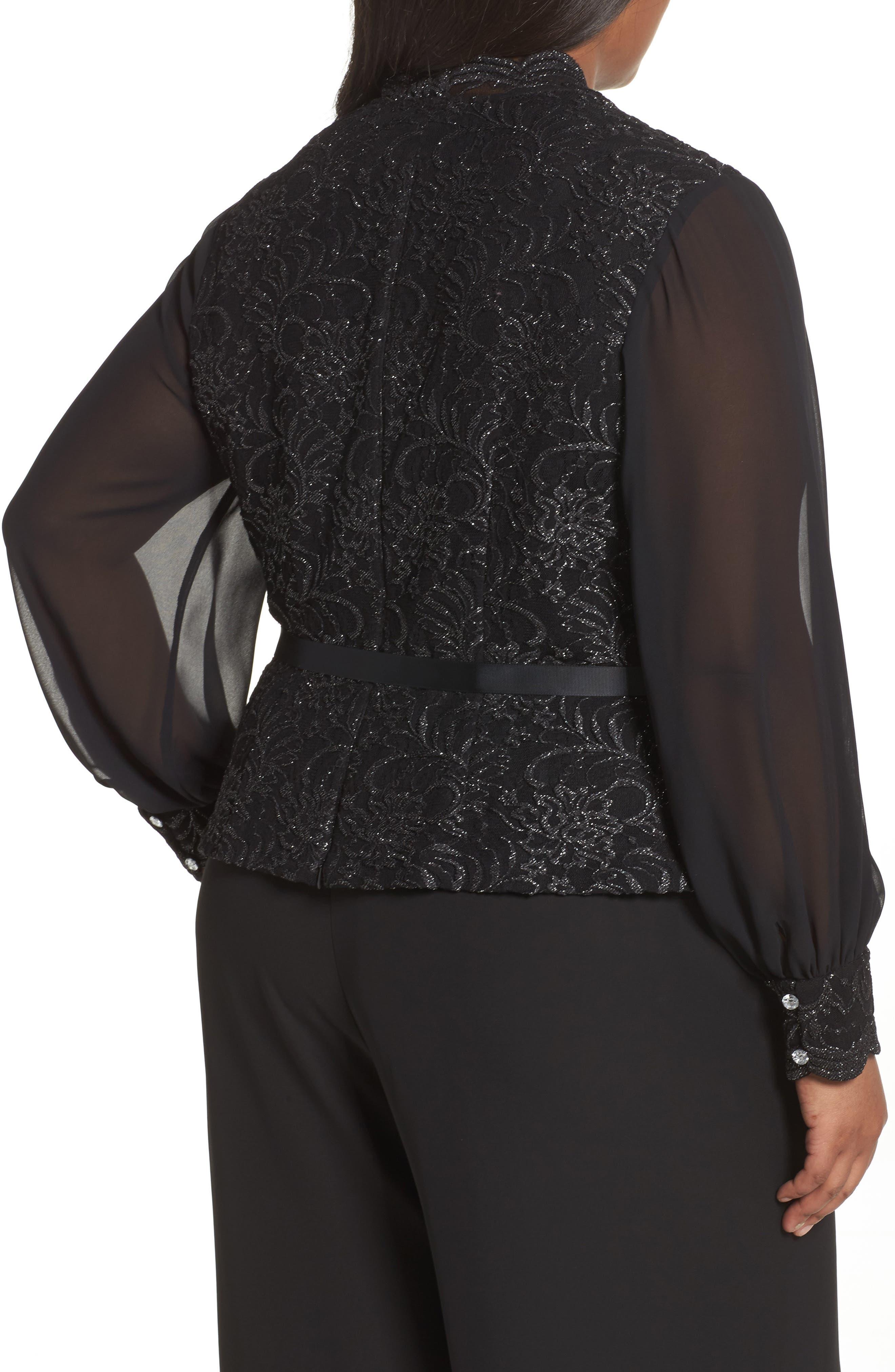 Alternate Image 2  - Alex Evenings Sequin Lace Blouse with Tie Waist (Plus Size)