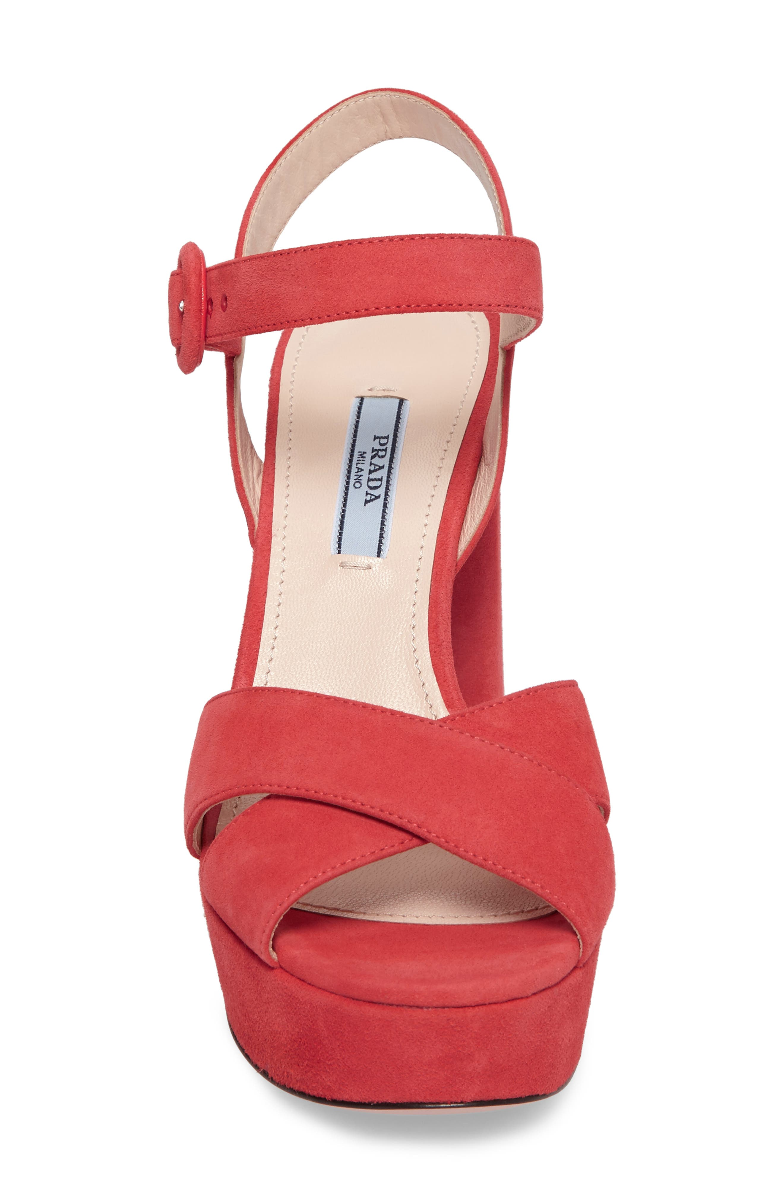 Block Heel Platform Sandal,                             Alternate thumbnail 4, color,                             Corallo