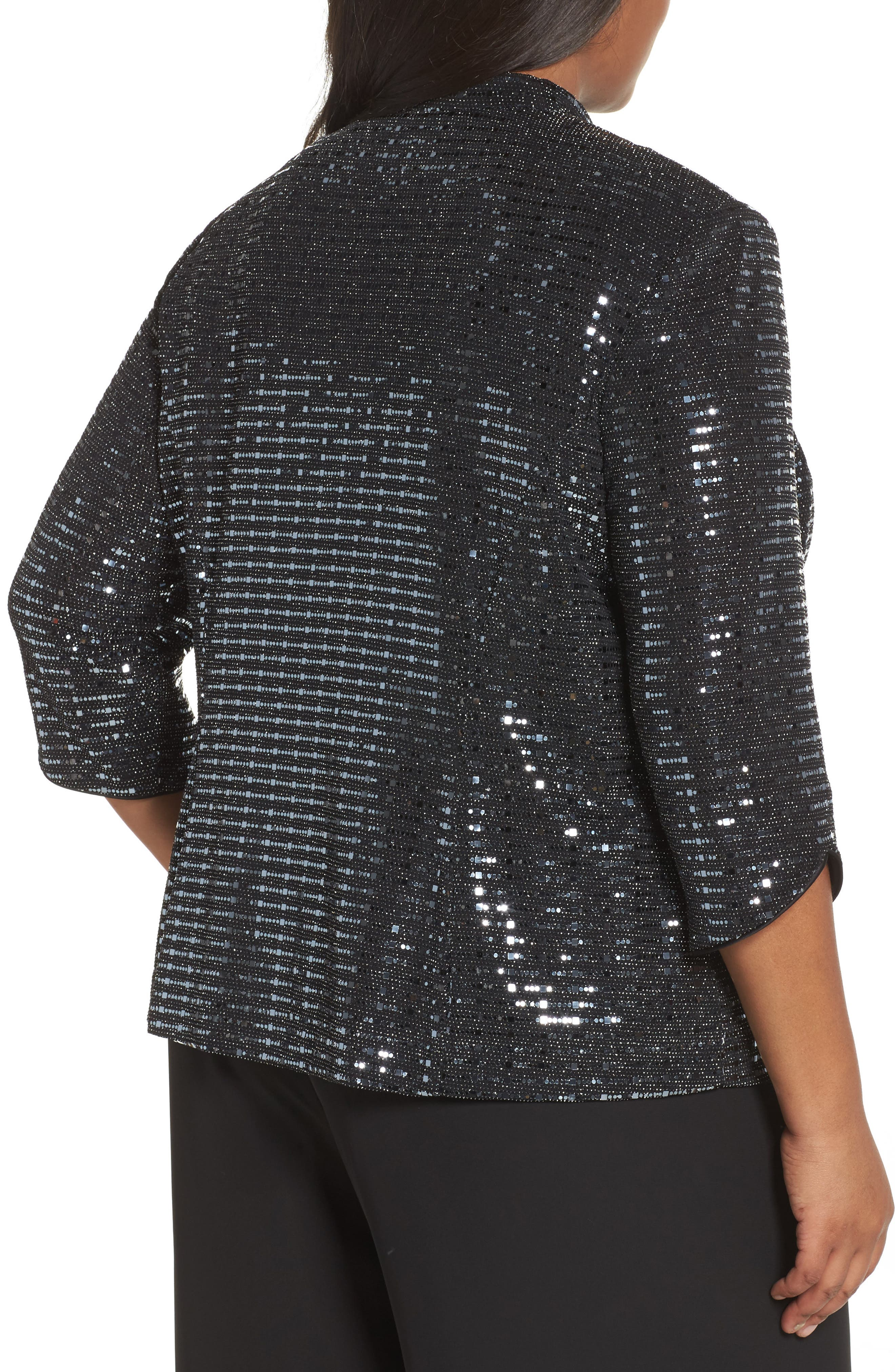 Alternate Image 2  - Alex Evenings Sequin Mandarian Collar Twinset (Plus Size)