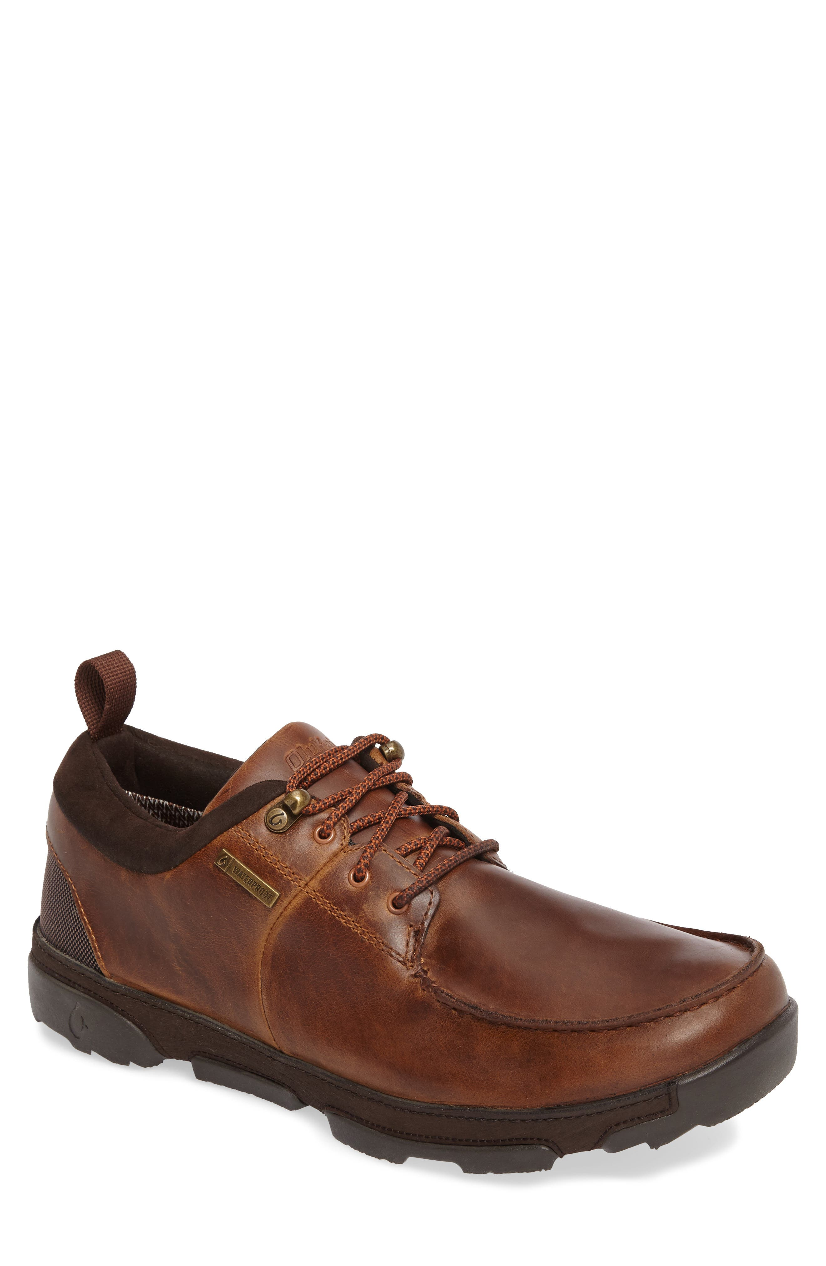 Makoa Waterproof Shoe,                         Main,                         color, Fox/ Dark Wood Leather