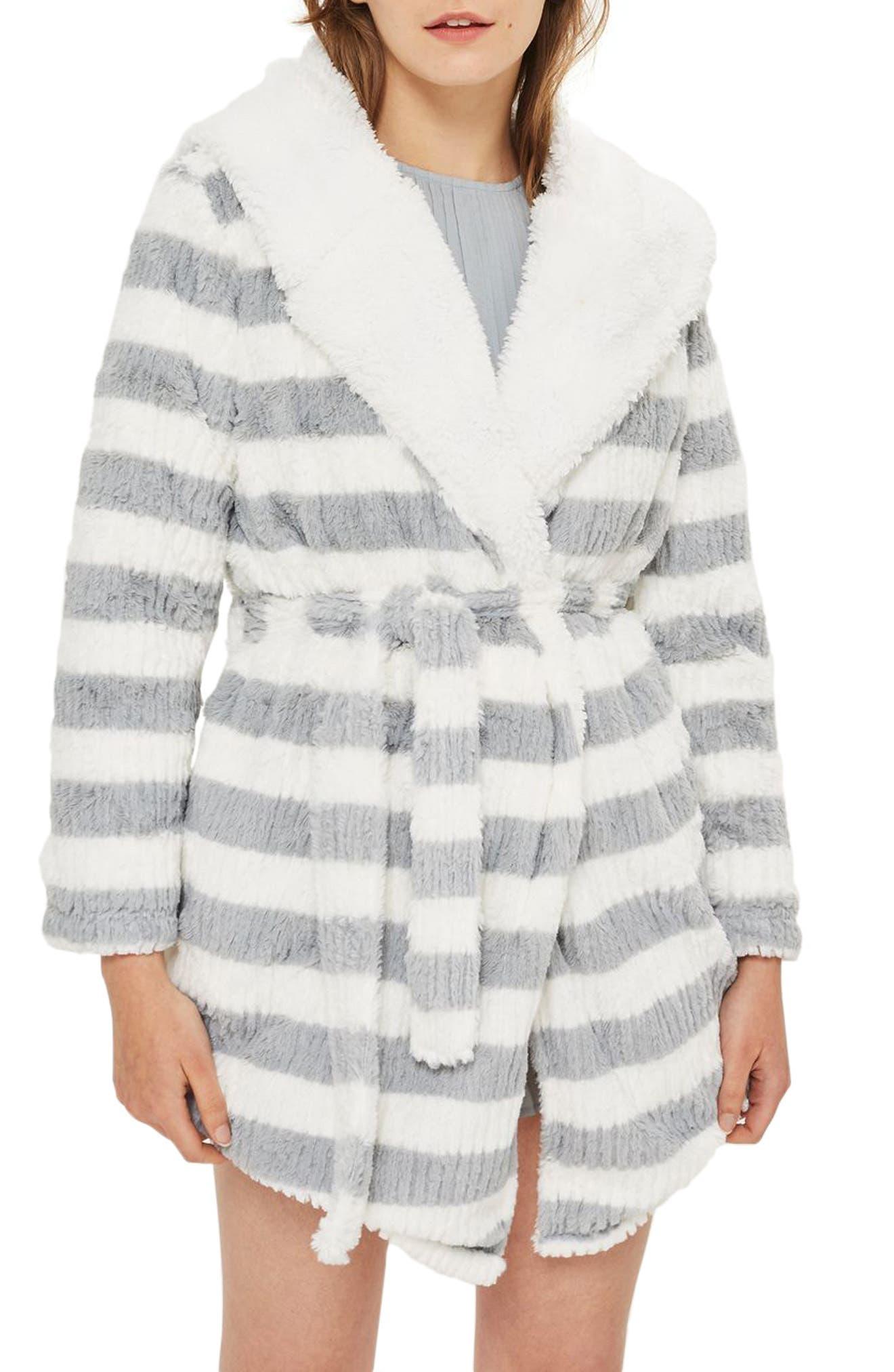 Stripe Short Robe,                             Main thumbnail 1, color,                             Grey Multi