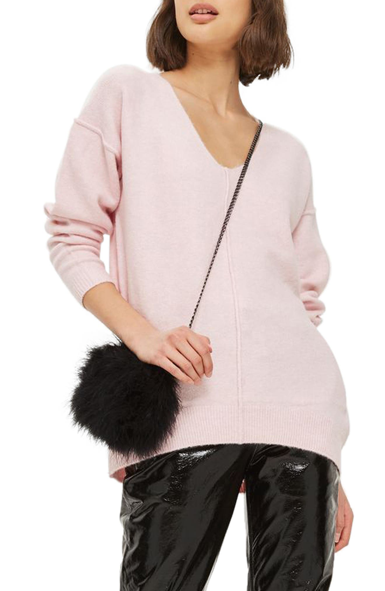 Exposed Seam Longline Sweater,                         Main,                         color, Pink