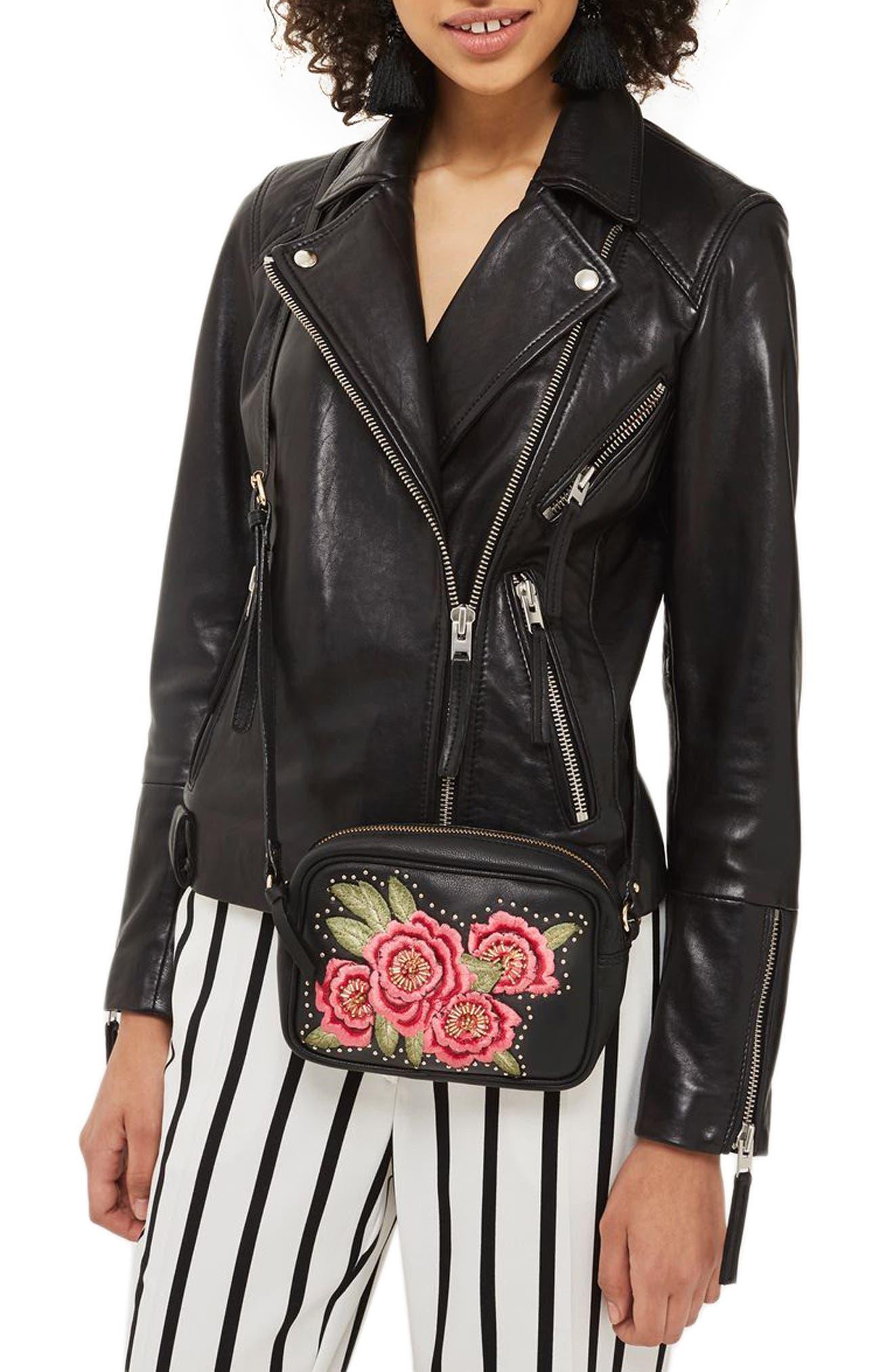 Alternate Image 2  - Topshop Floral Embroidered Leather Crossbody Bag