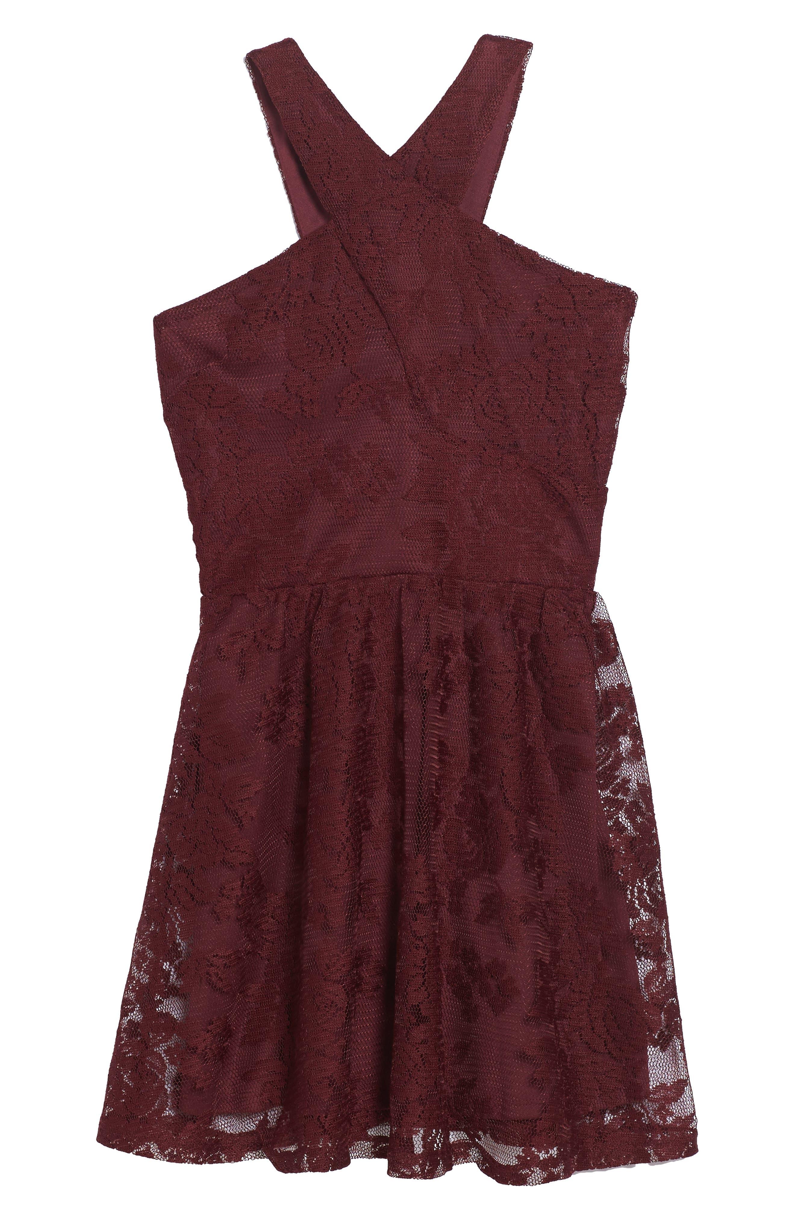 Winona Lace Dress,                             Main thumbnail 1, color,                             Burgandy