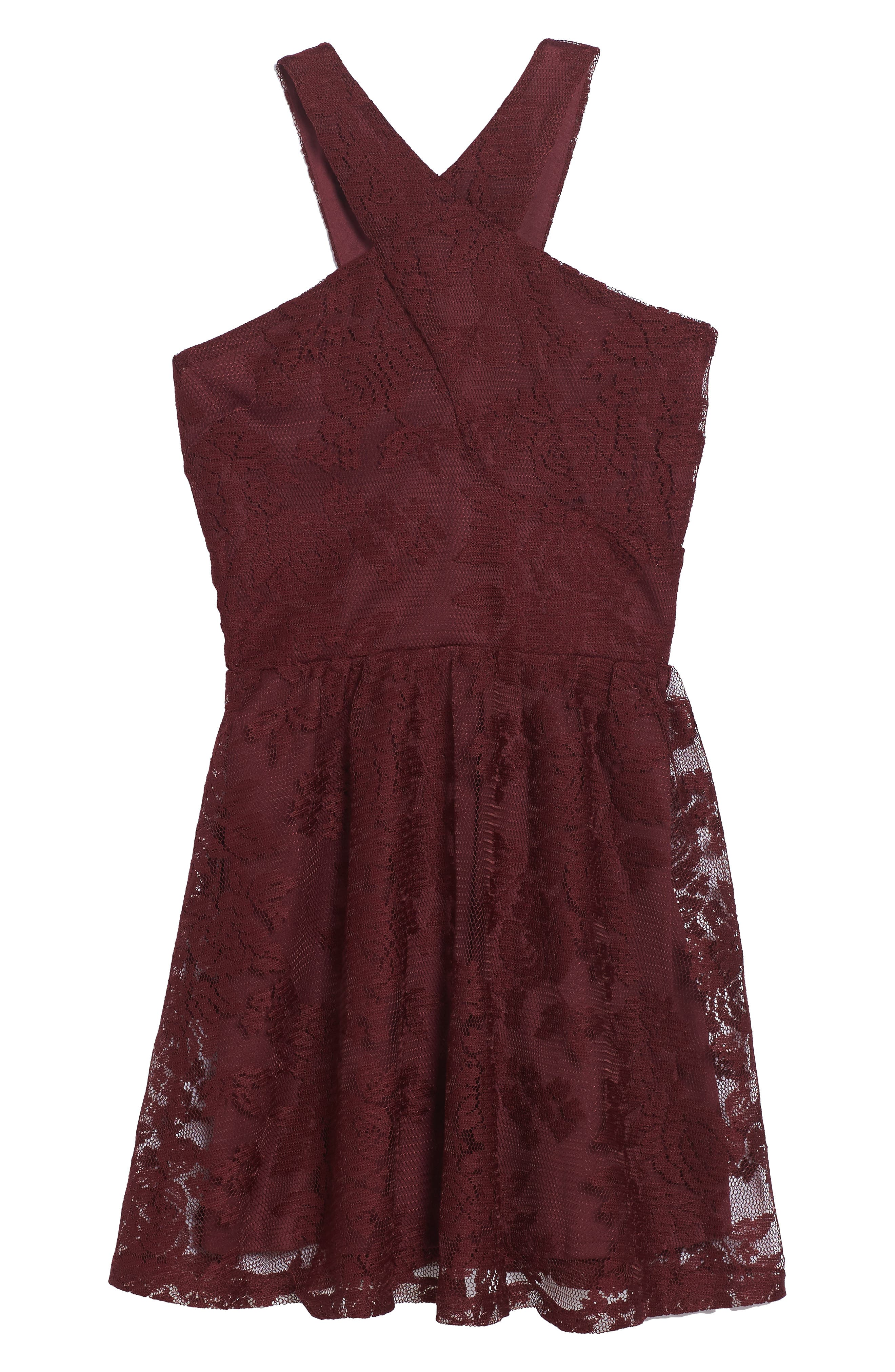 Winona Lace Dress,                         Main,                         color, Burgandy