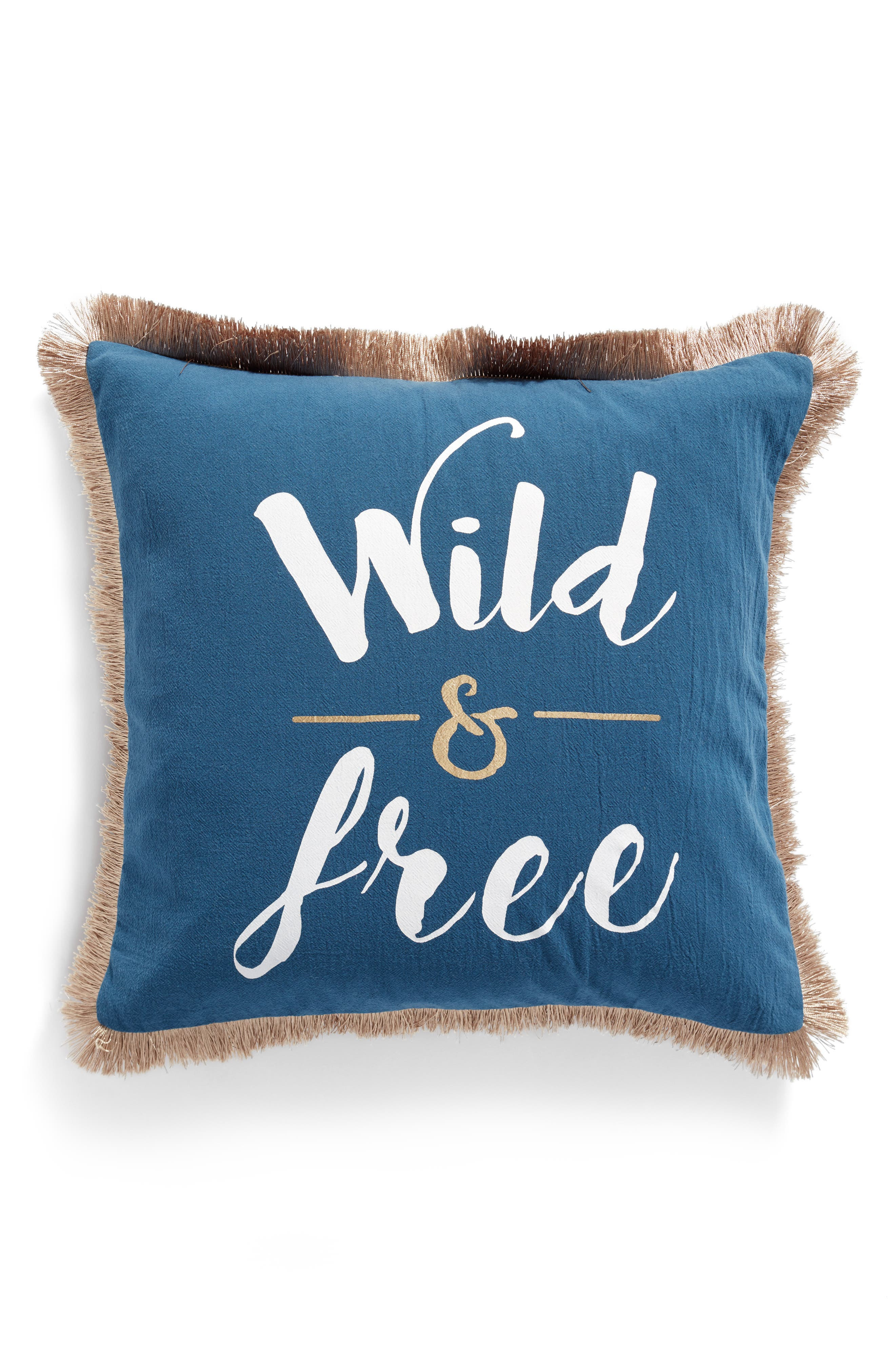 Beckett Wild & Free Pillow,                             Main thumbnail 1, color,                             Blue