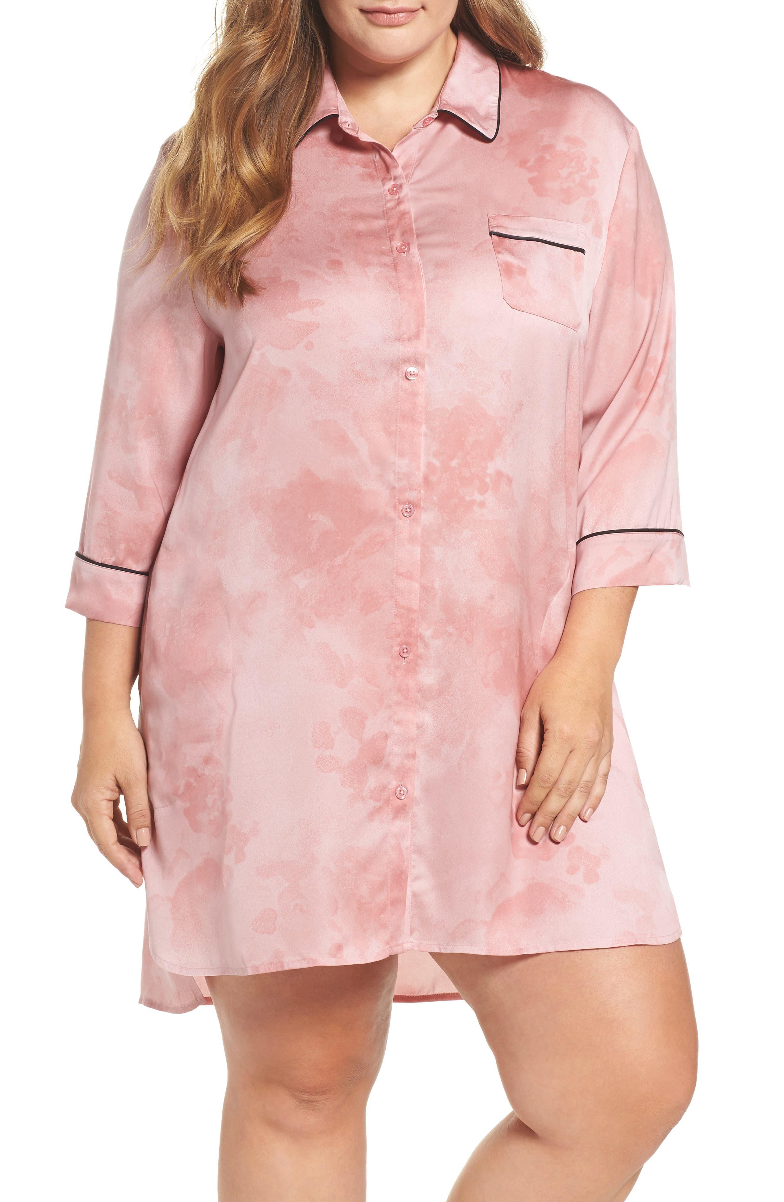 Washed Satin Sleep Shirt,                             Main thumbnail 1, color,                             Pink Floral