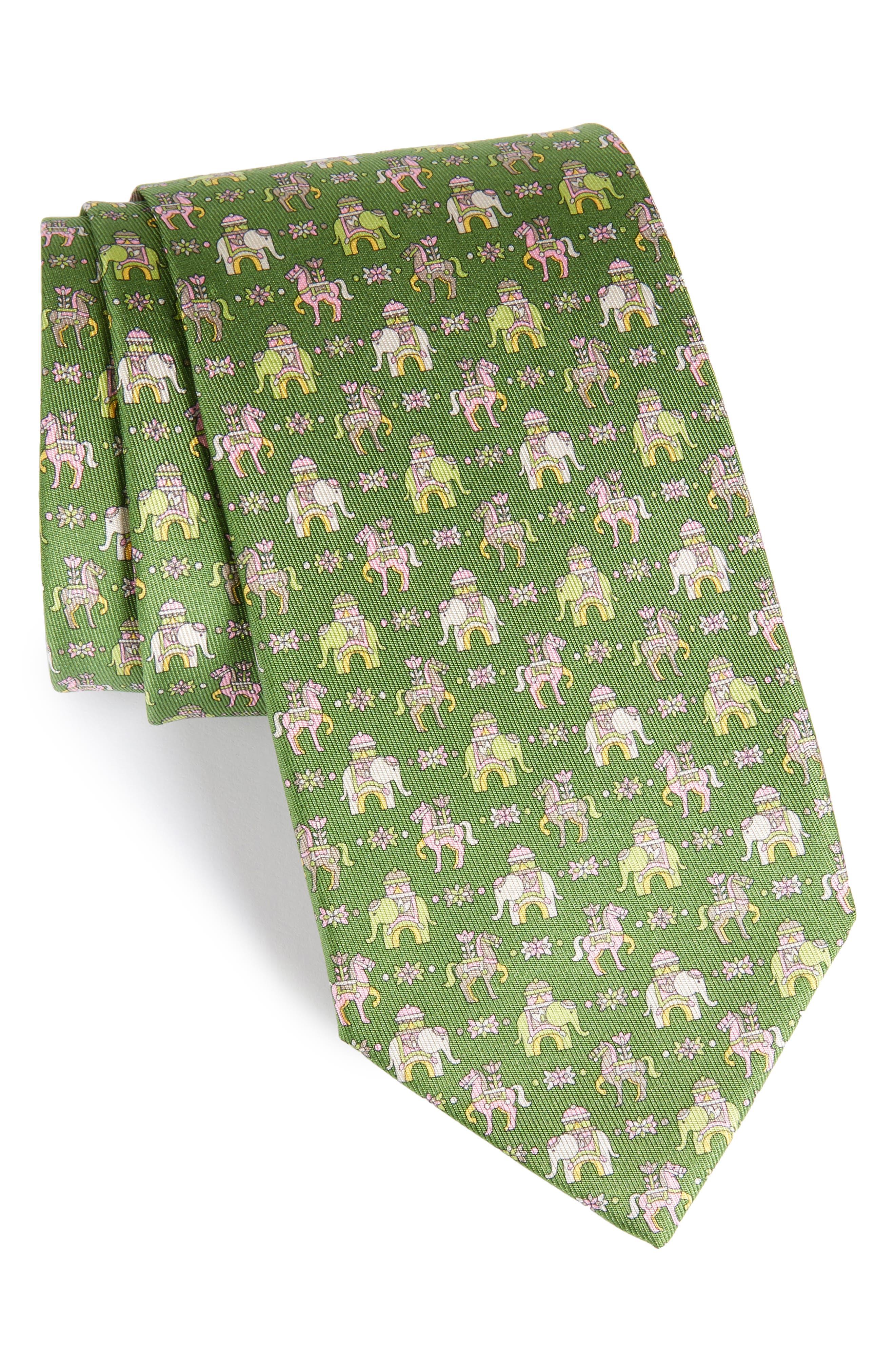 Elephant & Horse Silk Tie,                             Main thumbnail 1, color,                             Green