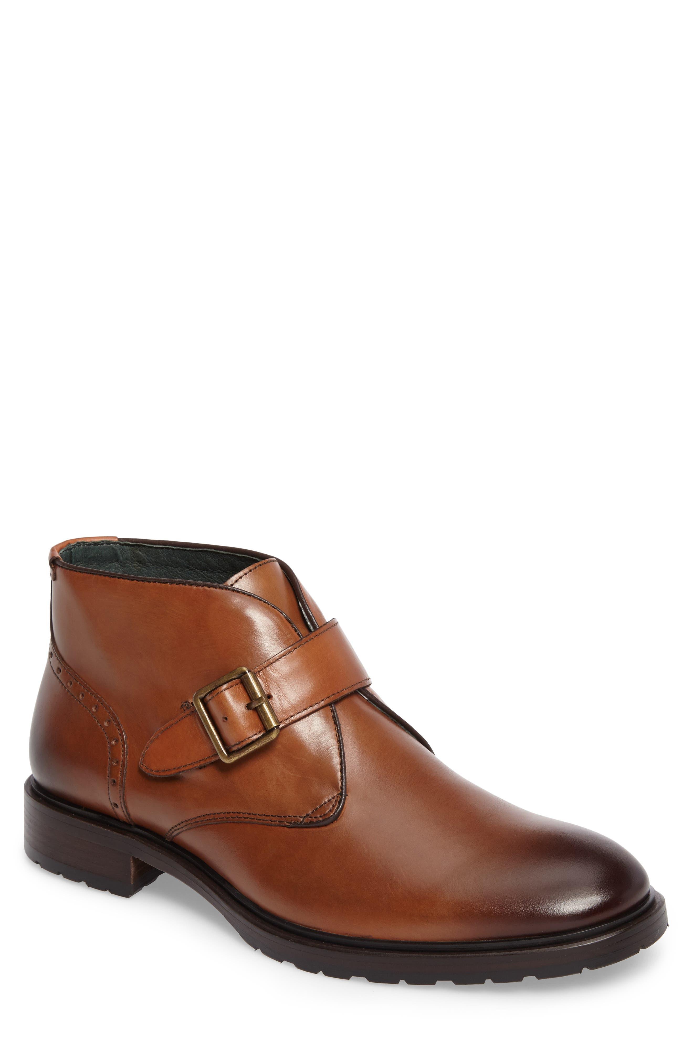 Myles Monk Strap Boot,                         Main,                         color, Cognac Leather