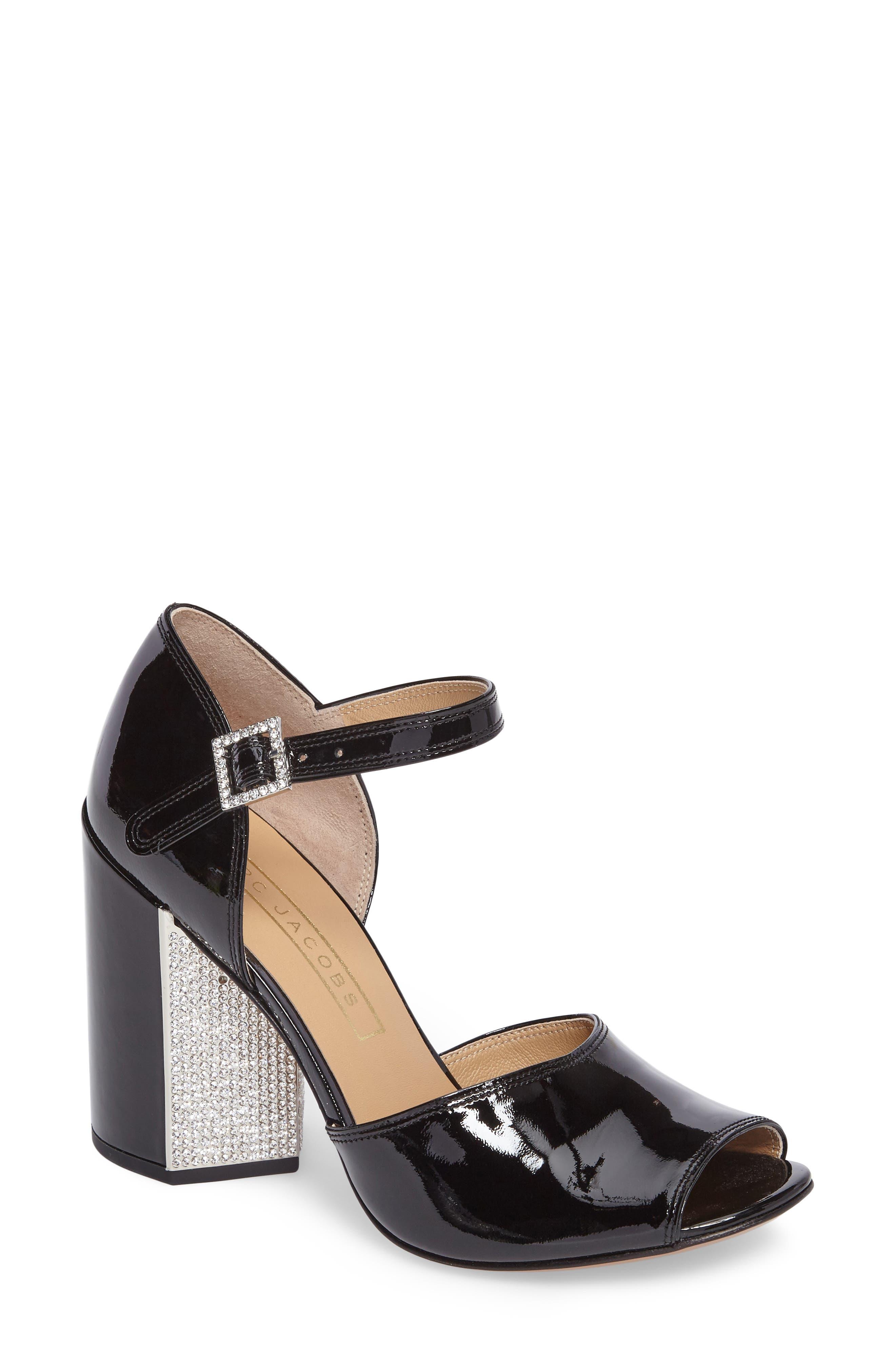 Kasia Embellished Ankle Strap Sandal,                             Main thumbnail 1, color,                             Black