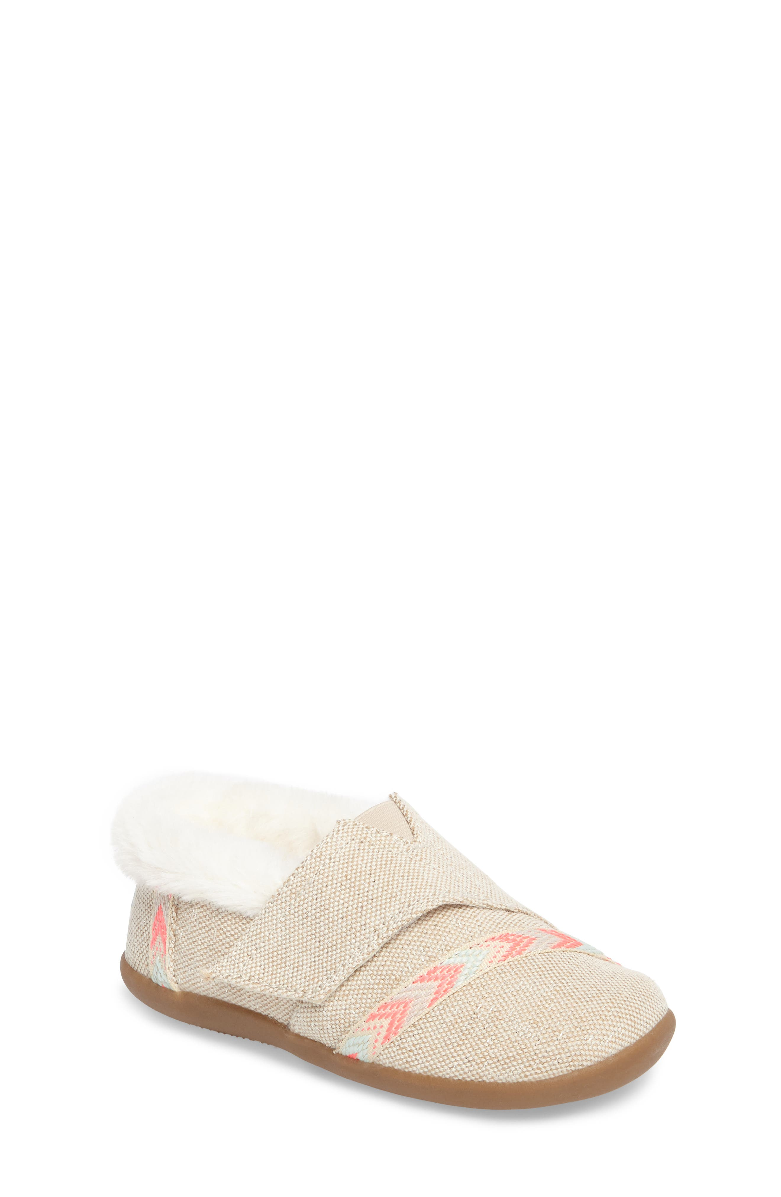 Main Image - TOMS Tiny Faux Fur House Slipper (Baby, Walker & Toddler)