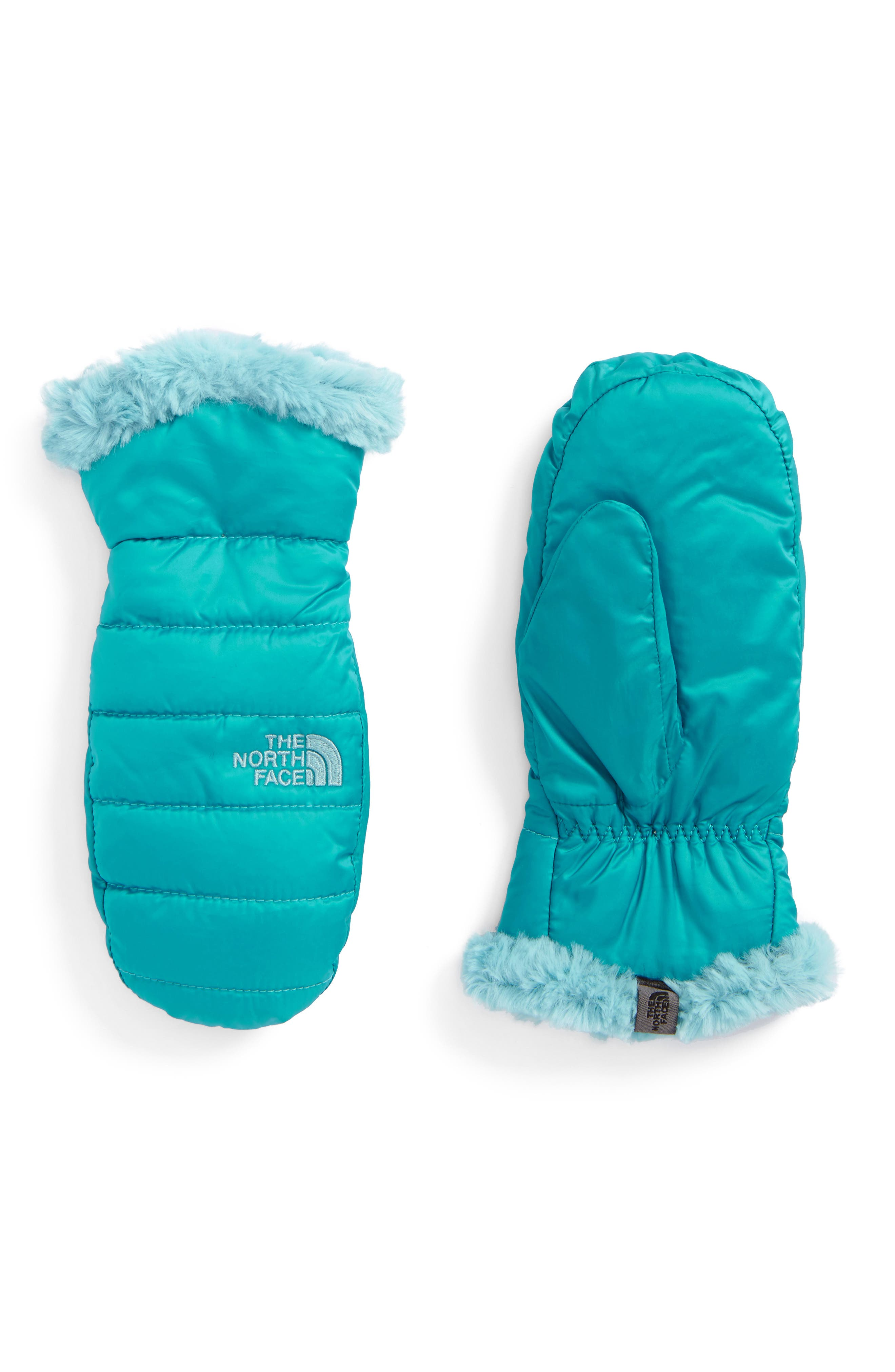 Main Image - The North Face Mossbud Swirl Reversible Water Repellent Mittens (Girls)