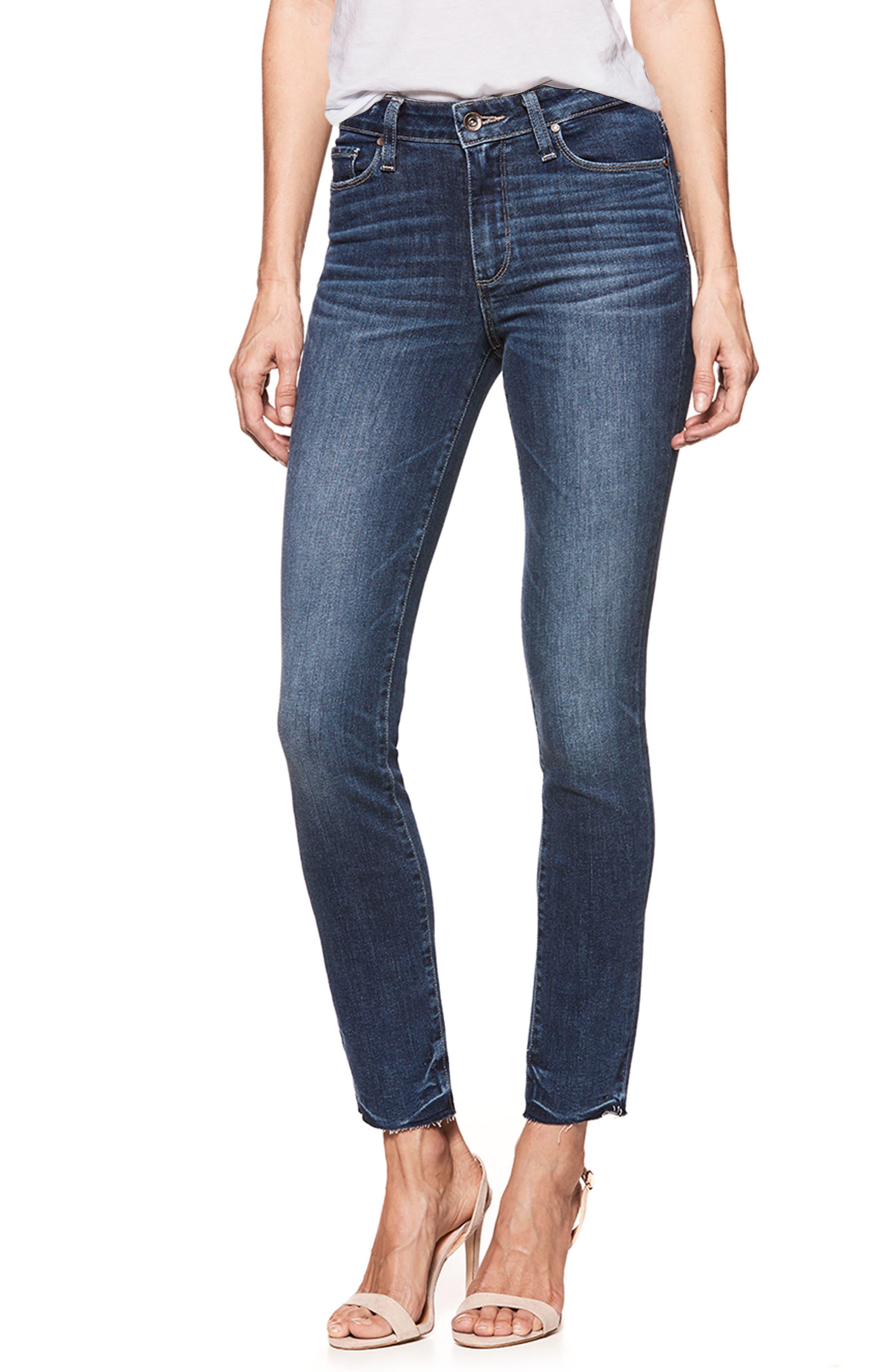 Transcend Vintage - Hoxton High Waist Ankle Peg Jeans,                             Main thumbnail 1, color,                             Riviera