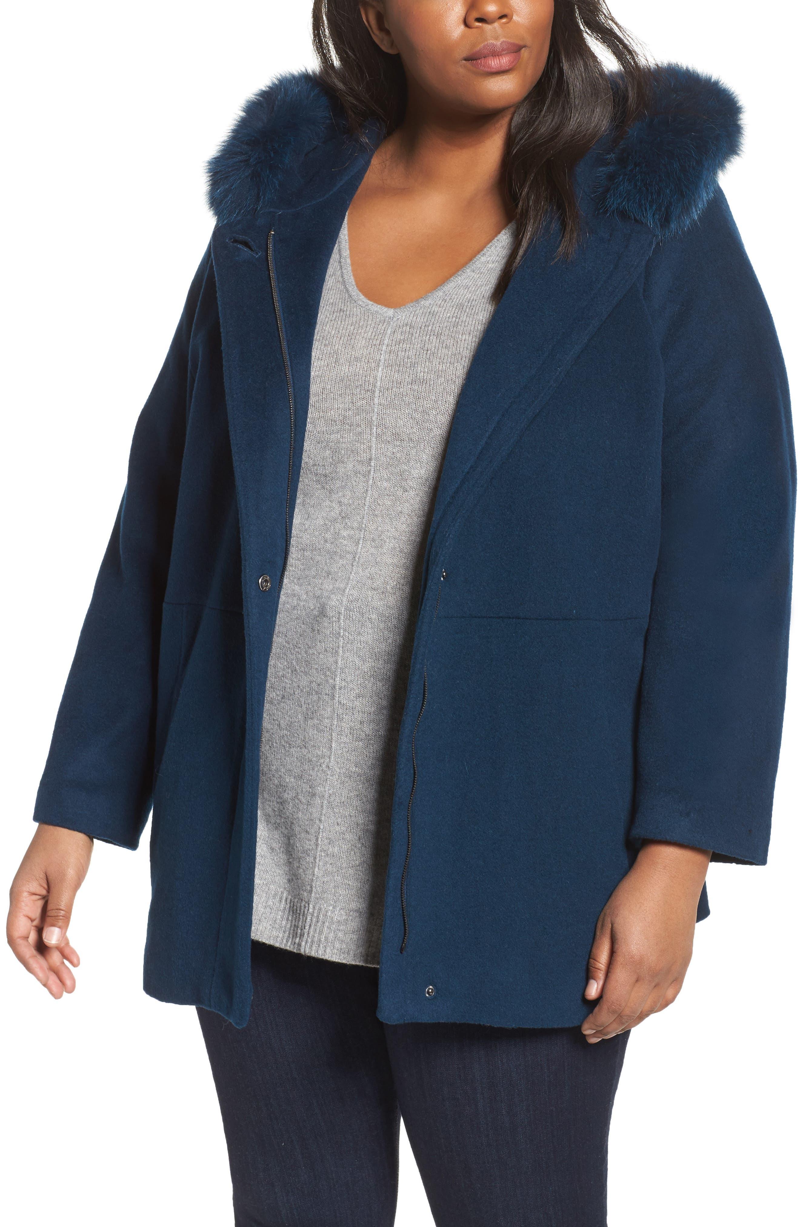 Genuine Fox Fur Trim Hooded Wool Blend Jacket,                         Main,                         color, Blue
