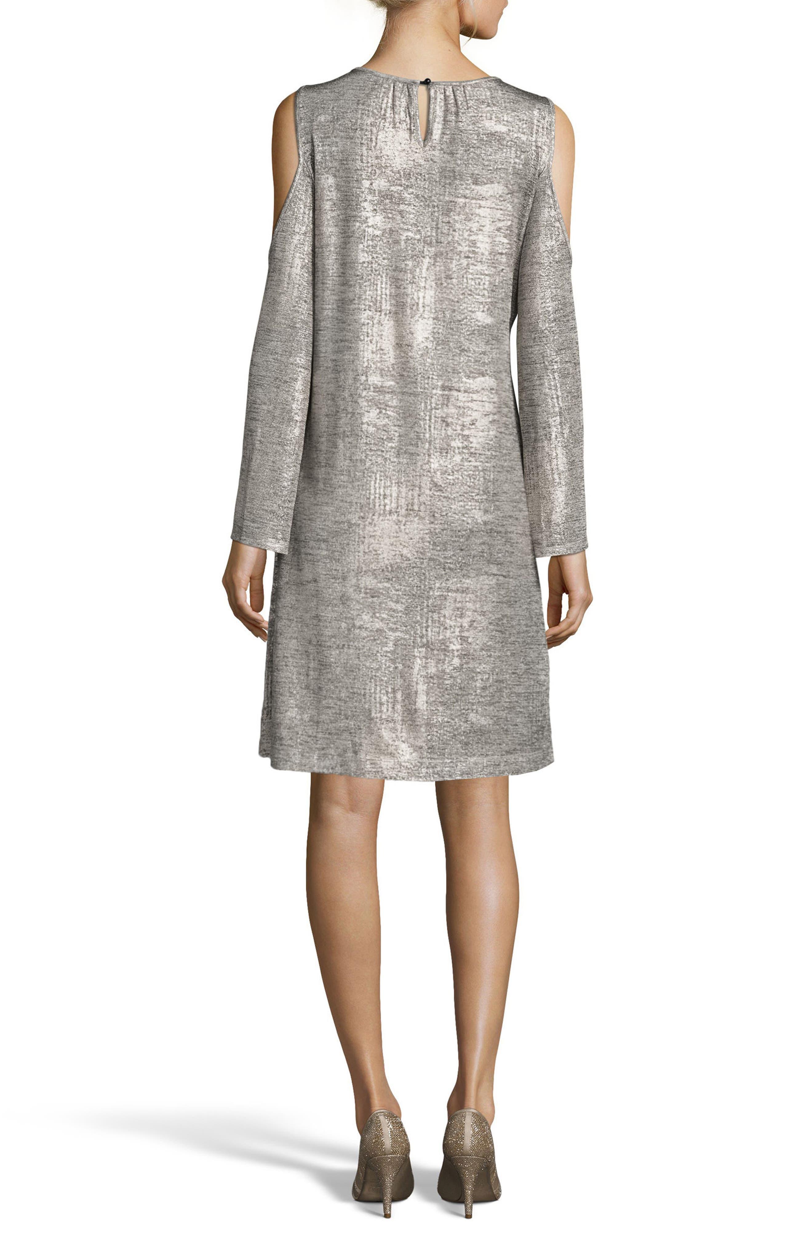 Alternate Image 2  - ECI Foil Cold Shoulder Shift Dress