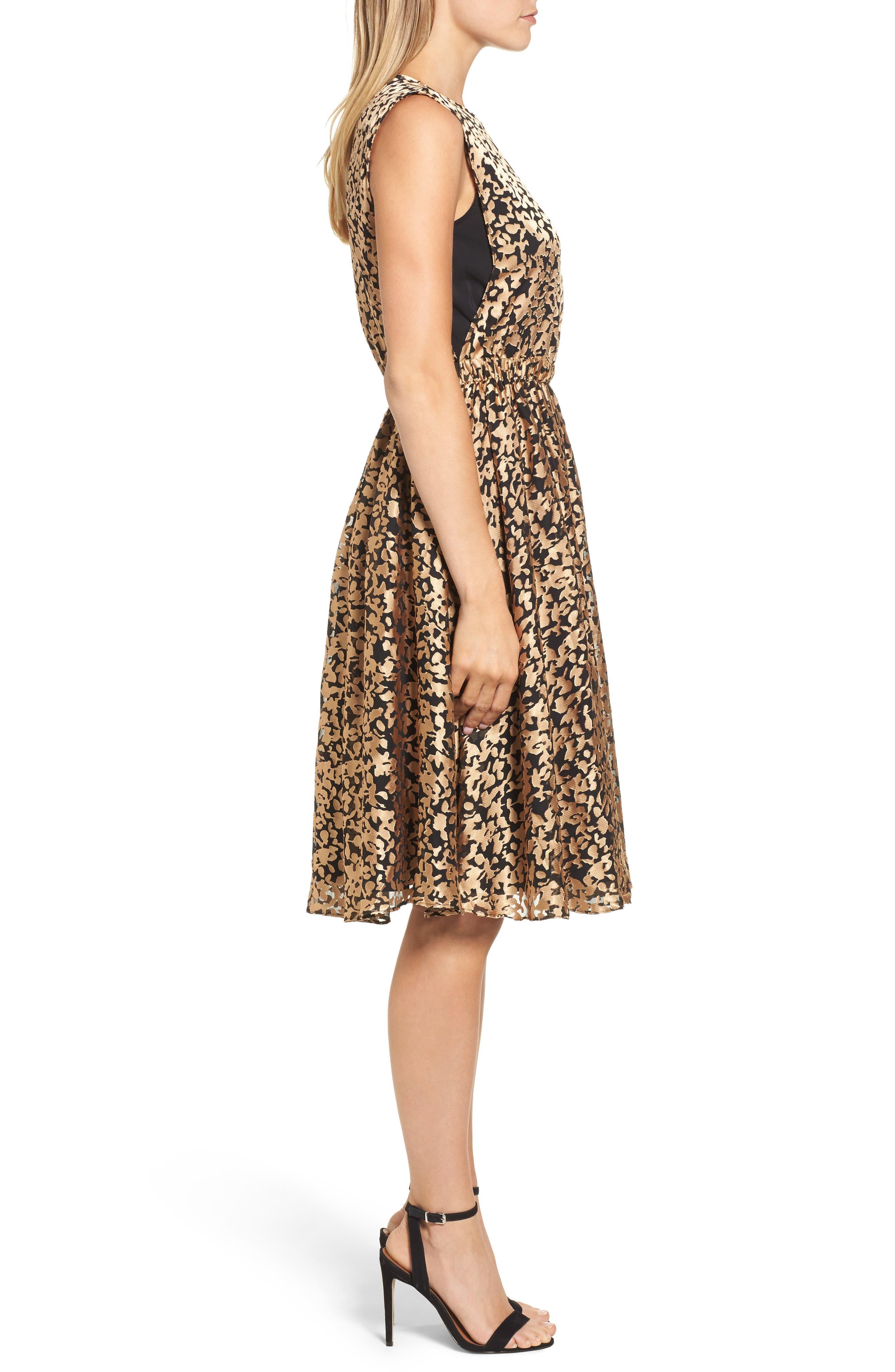 Kells Metallic Fit & Flare Dress,                             Alternate thumbnail 3, color,                             Gold/ Black