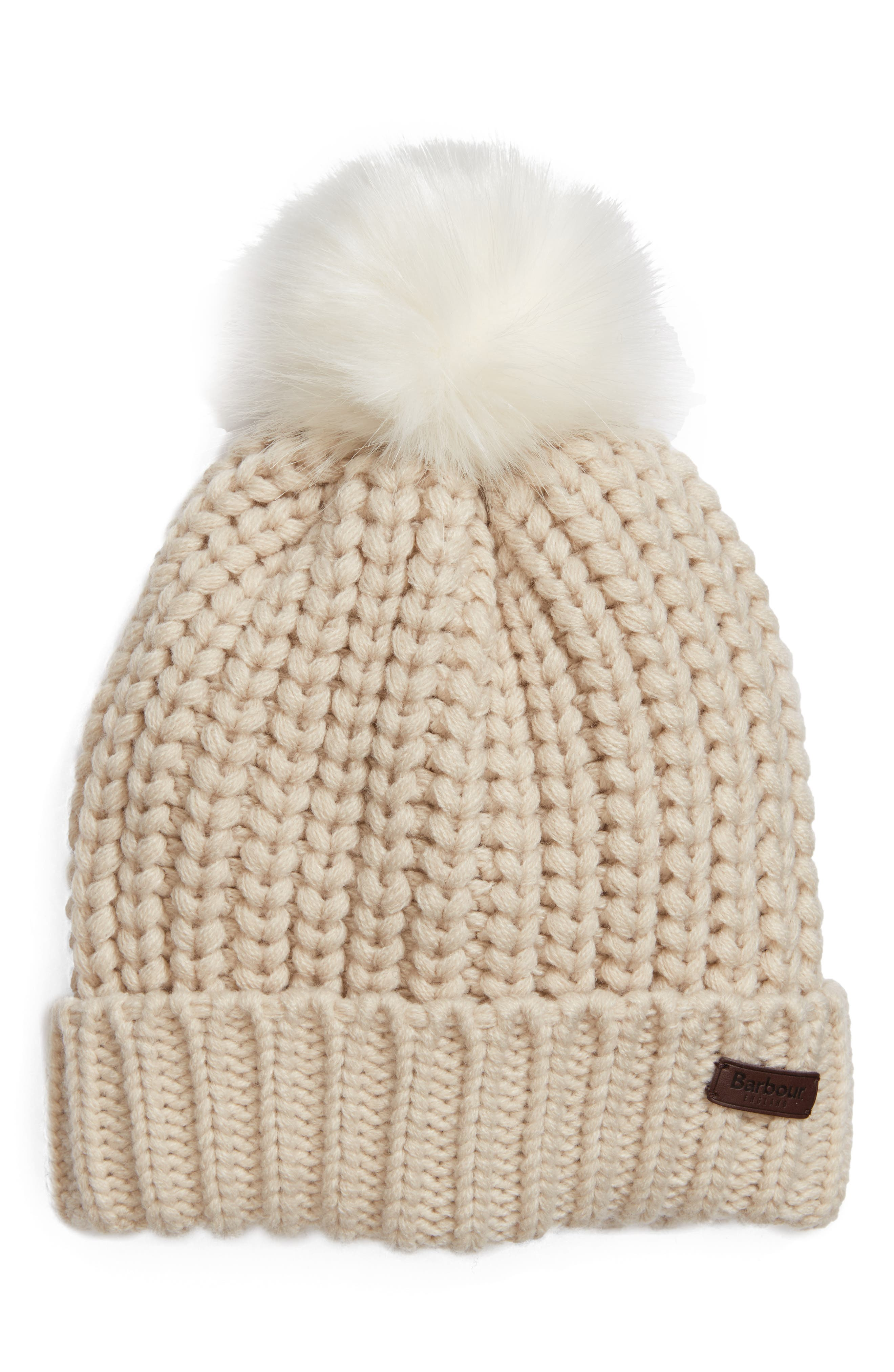 Alternate Image 1 Selected - Barbour Saltburn Beanie with Faux Fur Pom