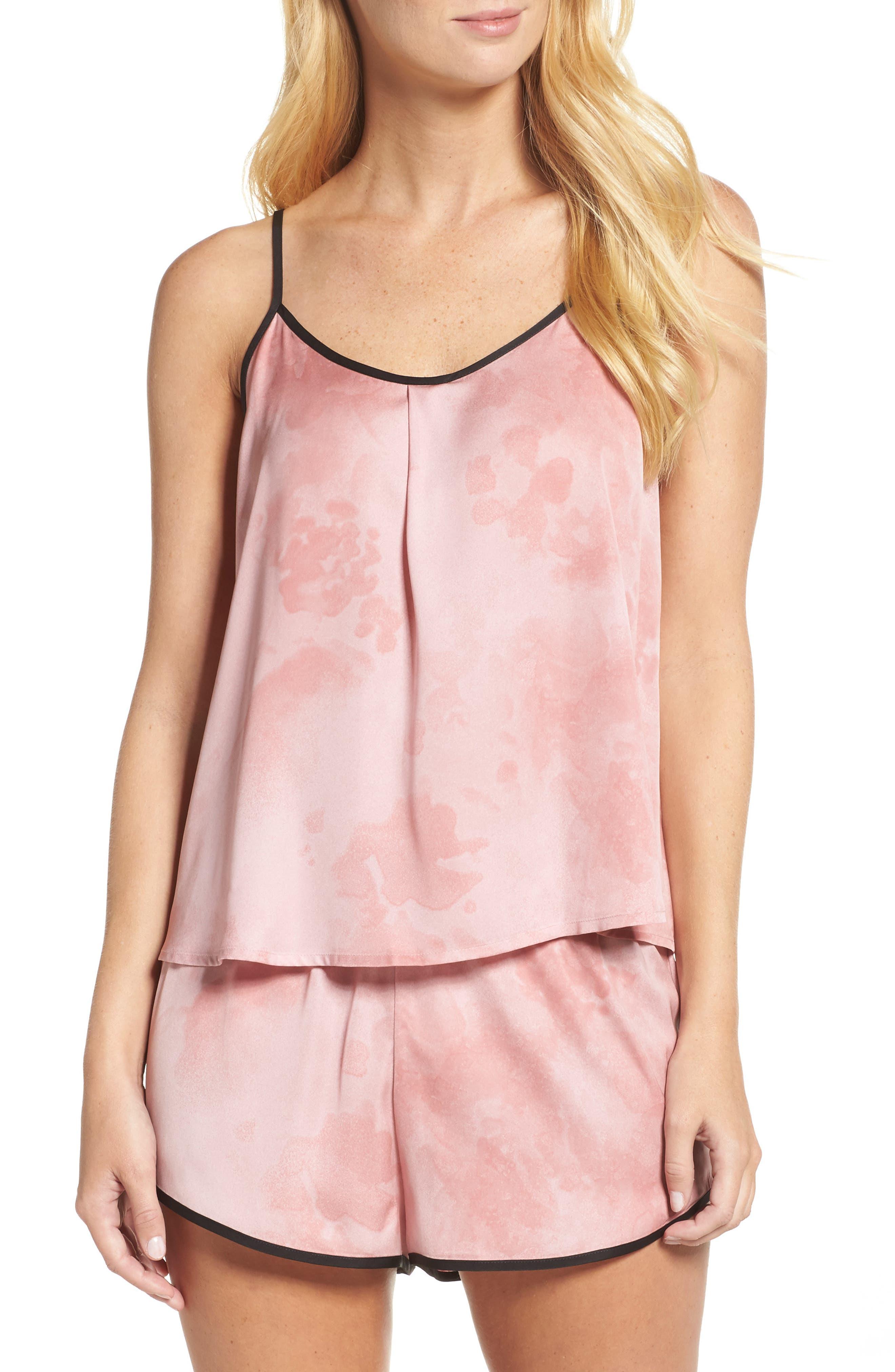 Washed Satin Short Pajamas & Eye Mask,                         Main,                         color, Pink Floral