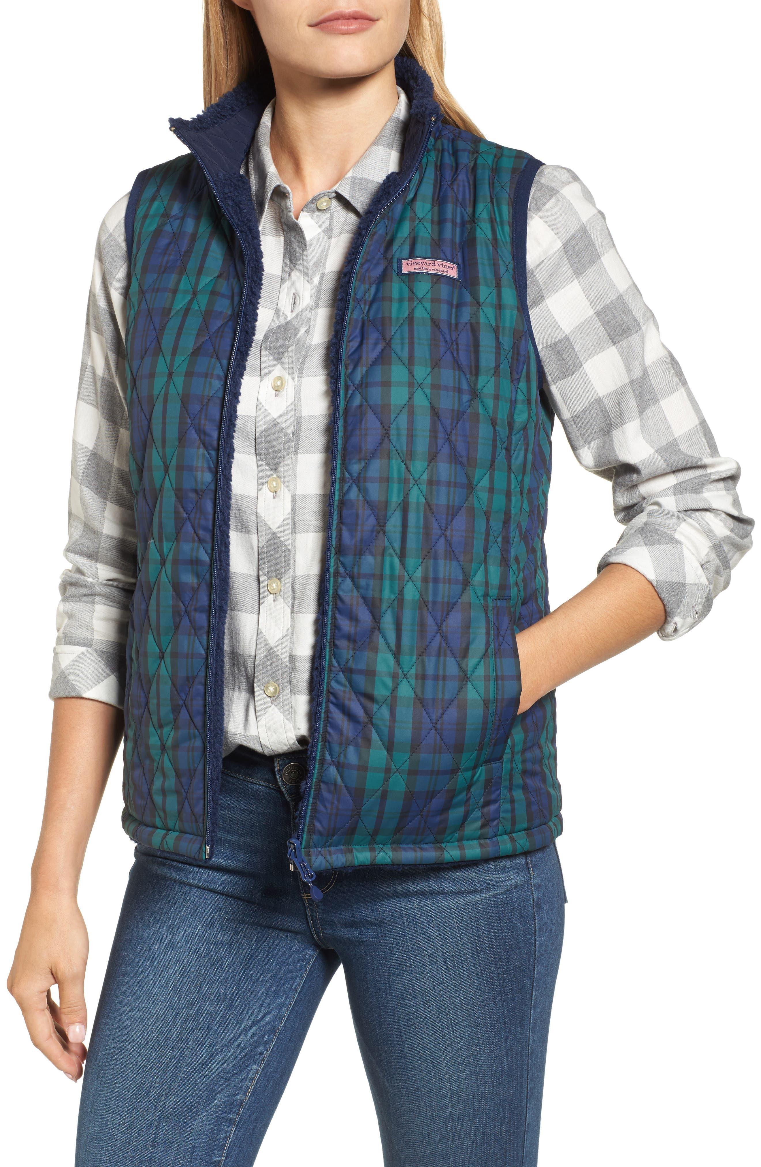 Reversible Quilted Plaid Vest,                             Alternate thumbnail 4, color,                             Deep Bay