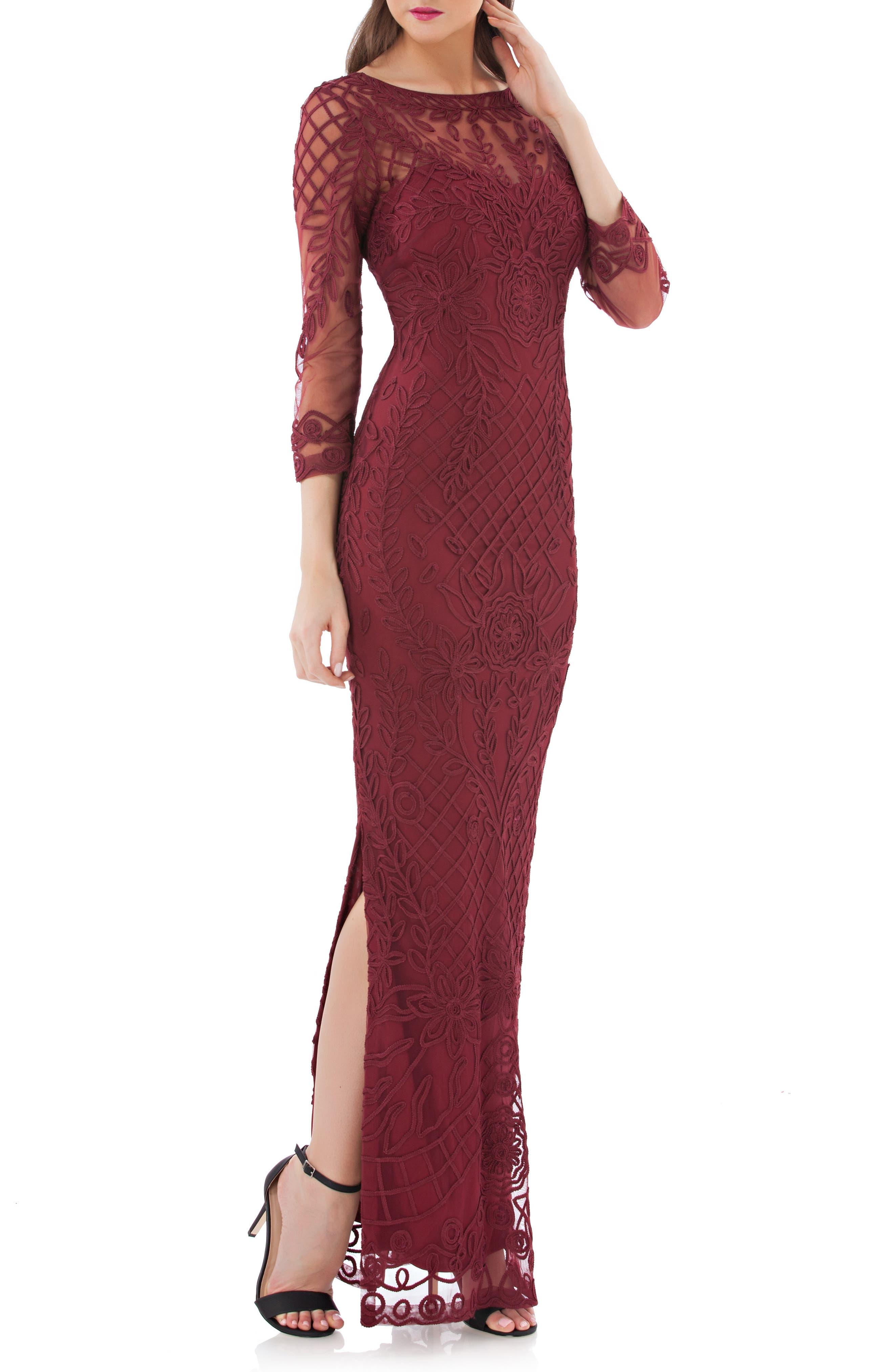 Soutache Illusion Gown,                         Main,                         color, Auburn