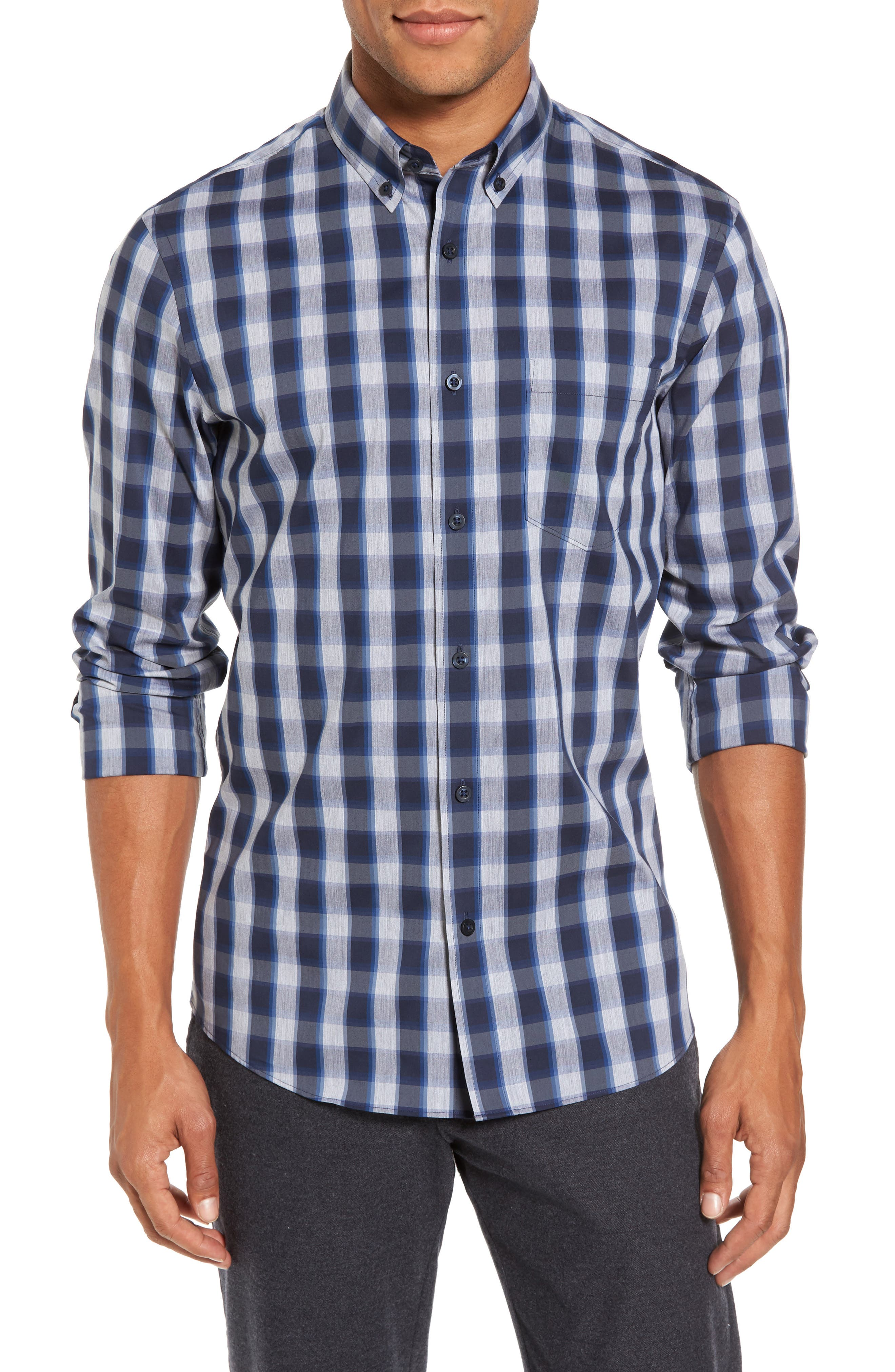 Spade Tech-Smart Trim Fit Check Sport Shirt,                         Main,                         color, Navy Iris Grey Heather Check