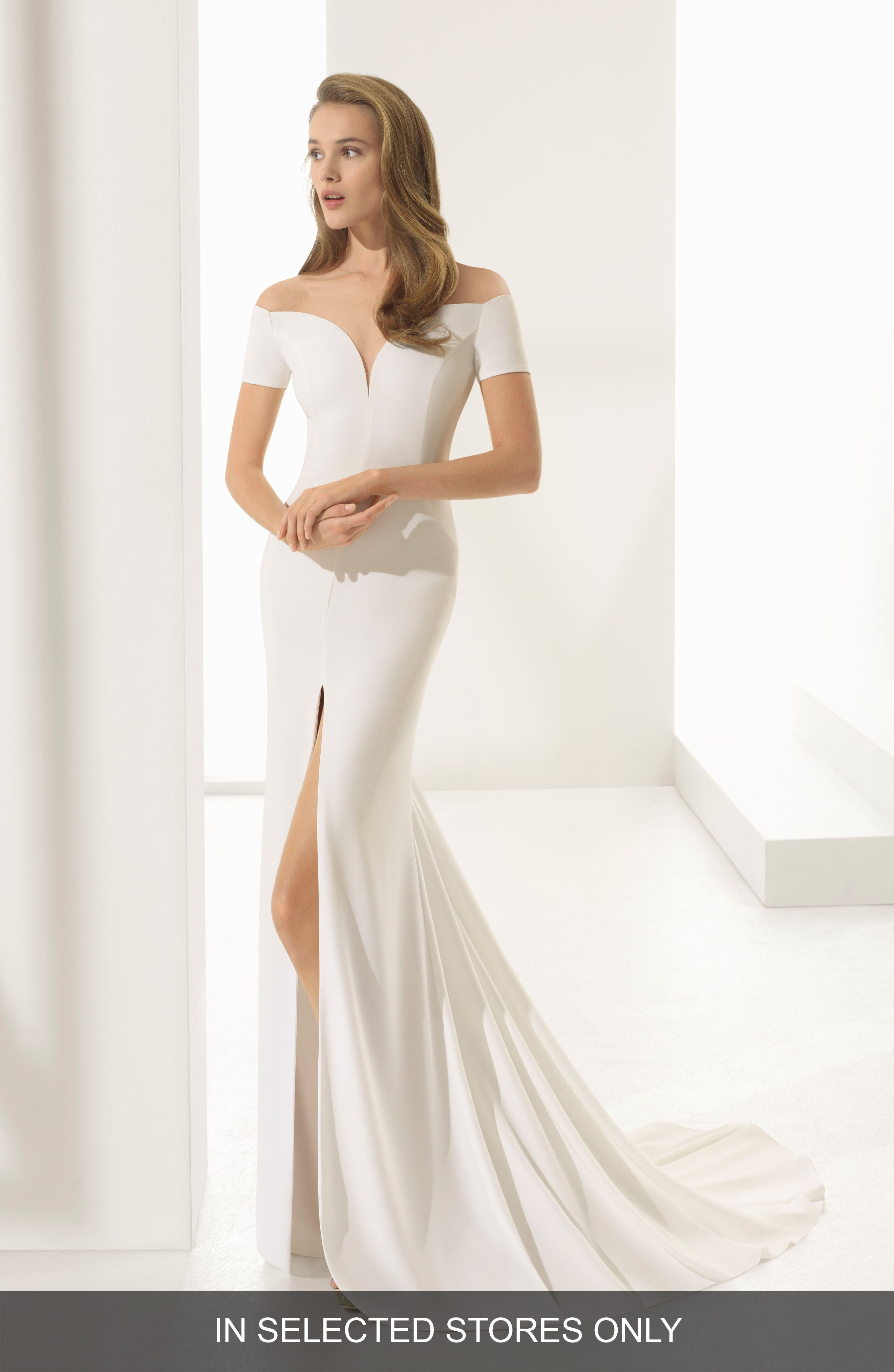Rosa Clara Couture Padua Off the Shoulder Crepe Gown