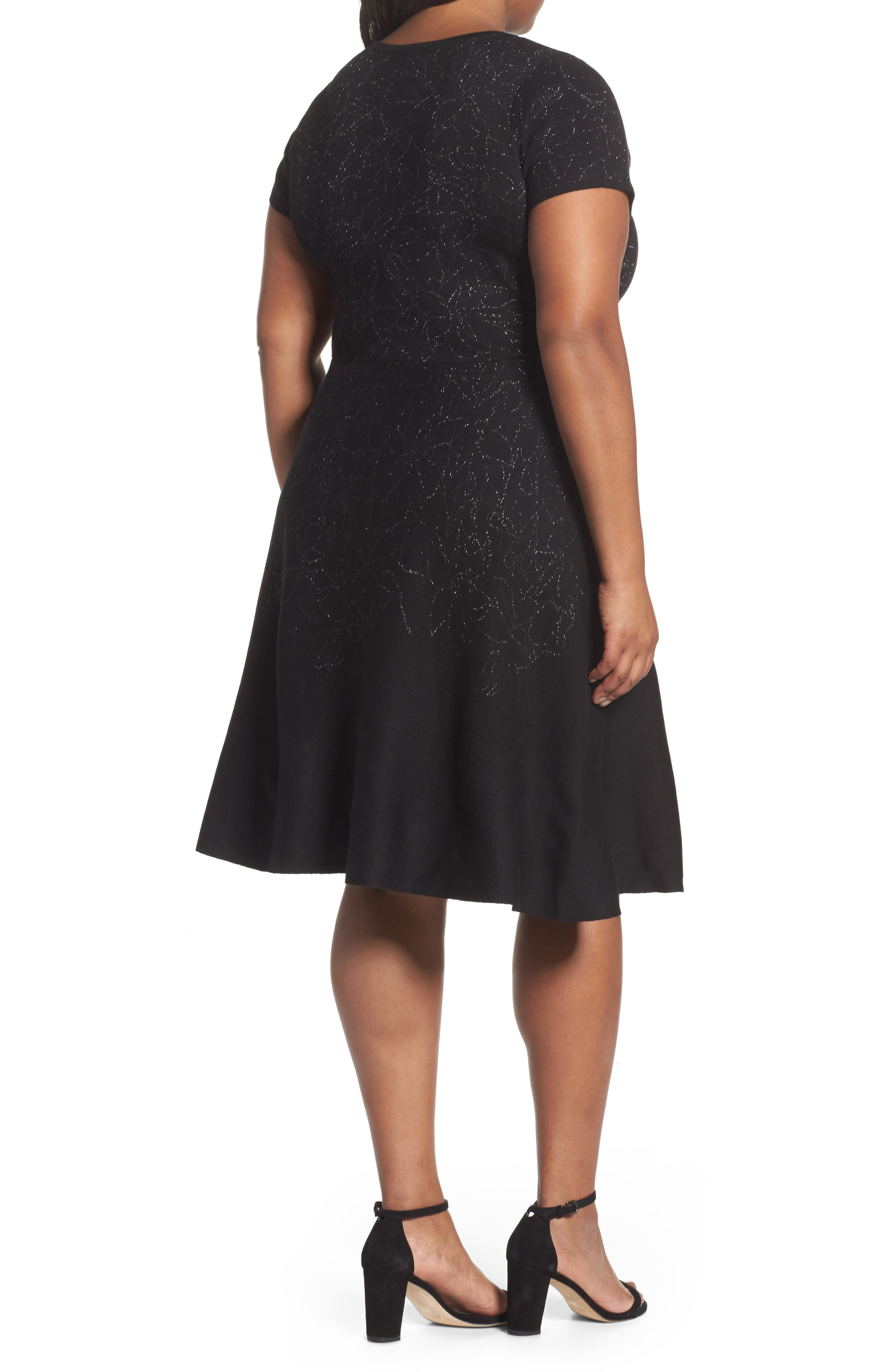 Metallic Knit Fit & Flare Dress,                             Alternate thumbnail 2, color,                             Black Silver