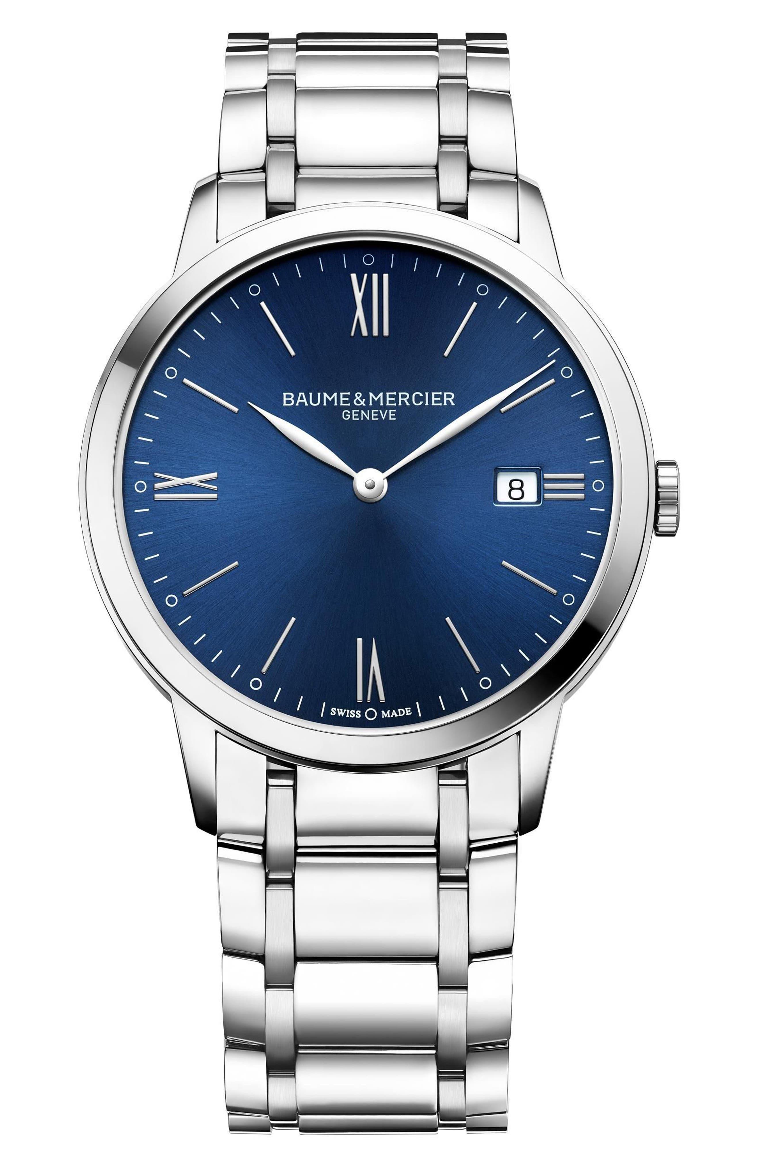 Baume & Mercier Classima Bracelet Watch, 40mm,                             Main thumbnail 1, color,                             Blue/ Silver