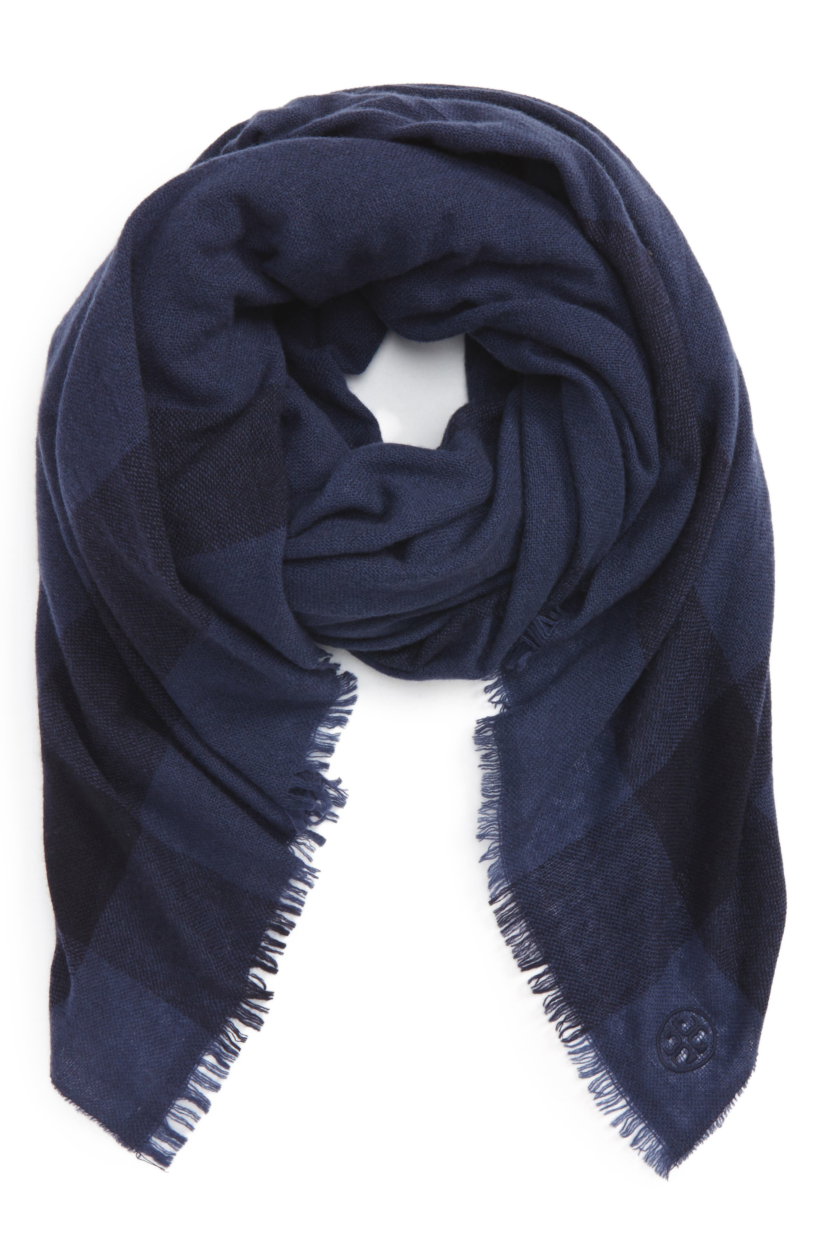 Tory Burch Check Wool & Cashmere Scarf