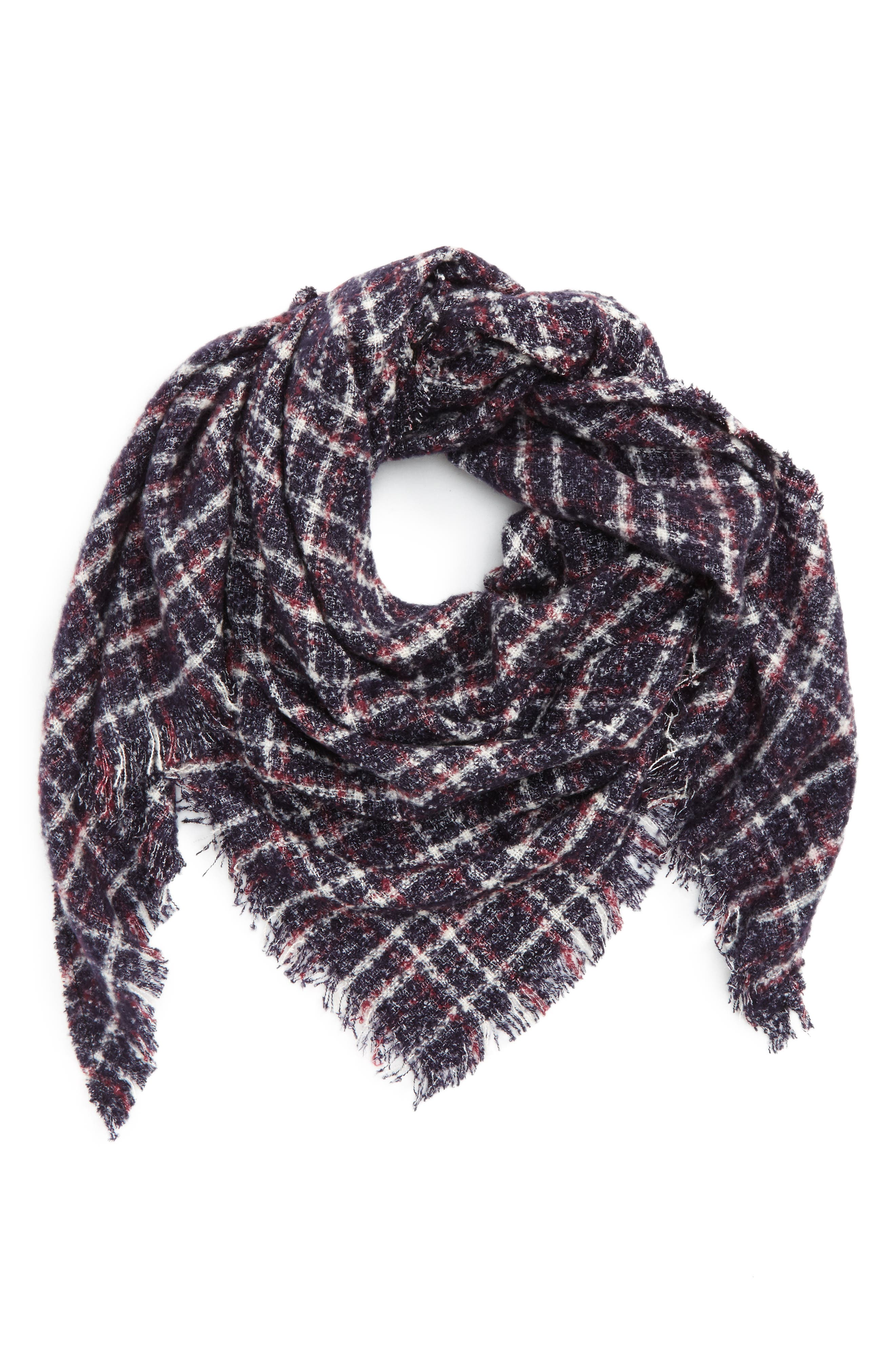 Bouclé Plaid Triangle Scarf,                         Main,                         color, Navy/ Red