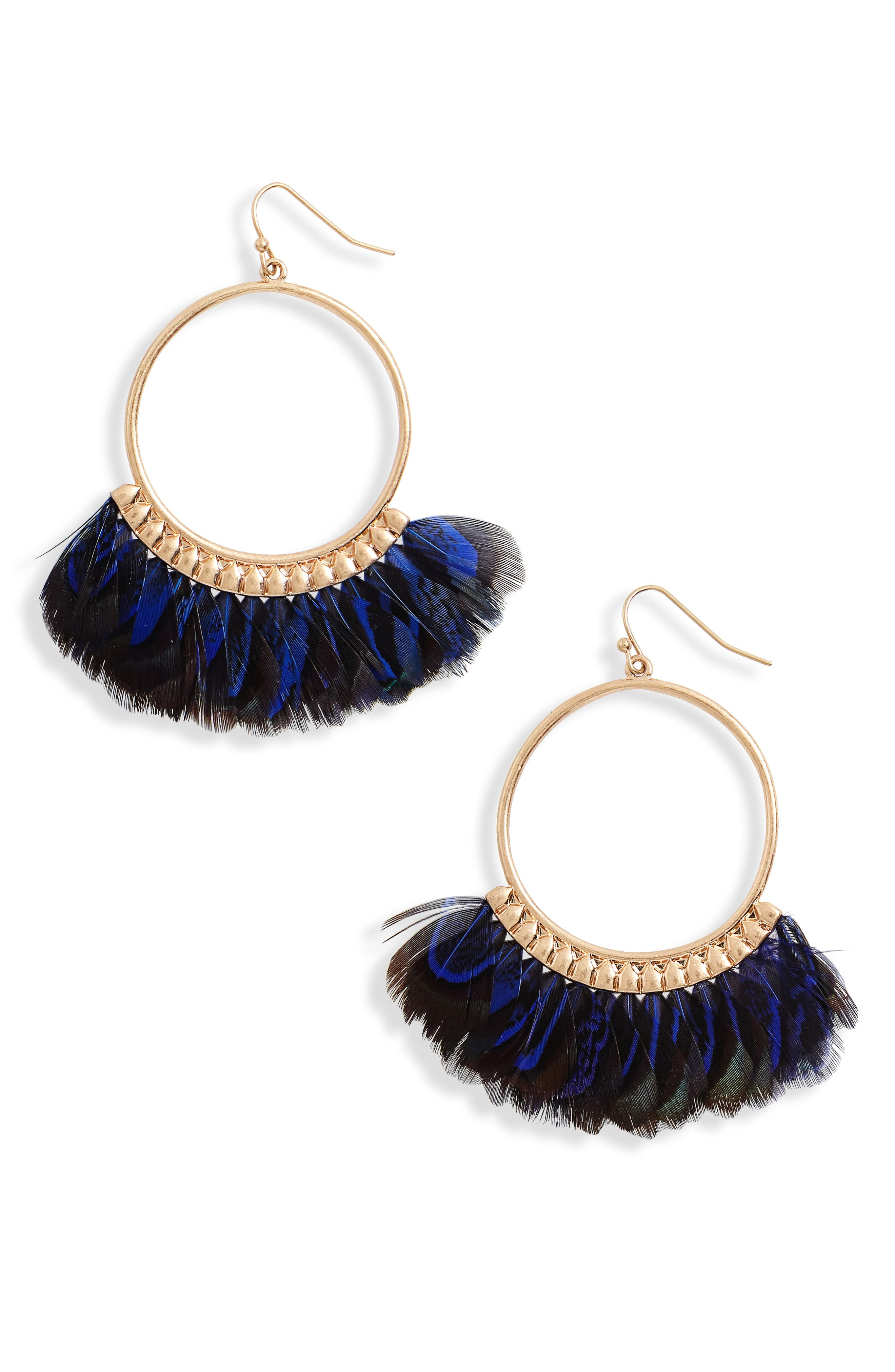 Feather Hoop Earrings,                             Main thumbnail 1, color,                             Royal Blue