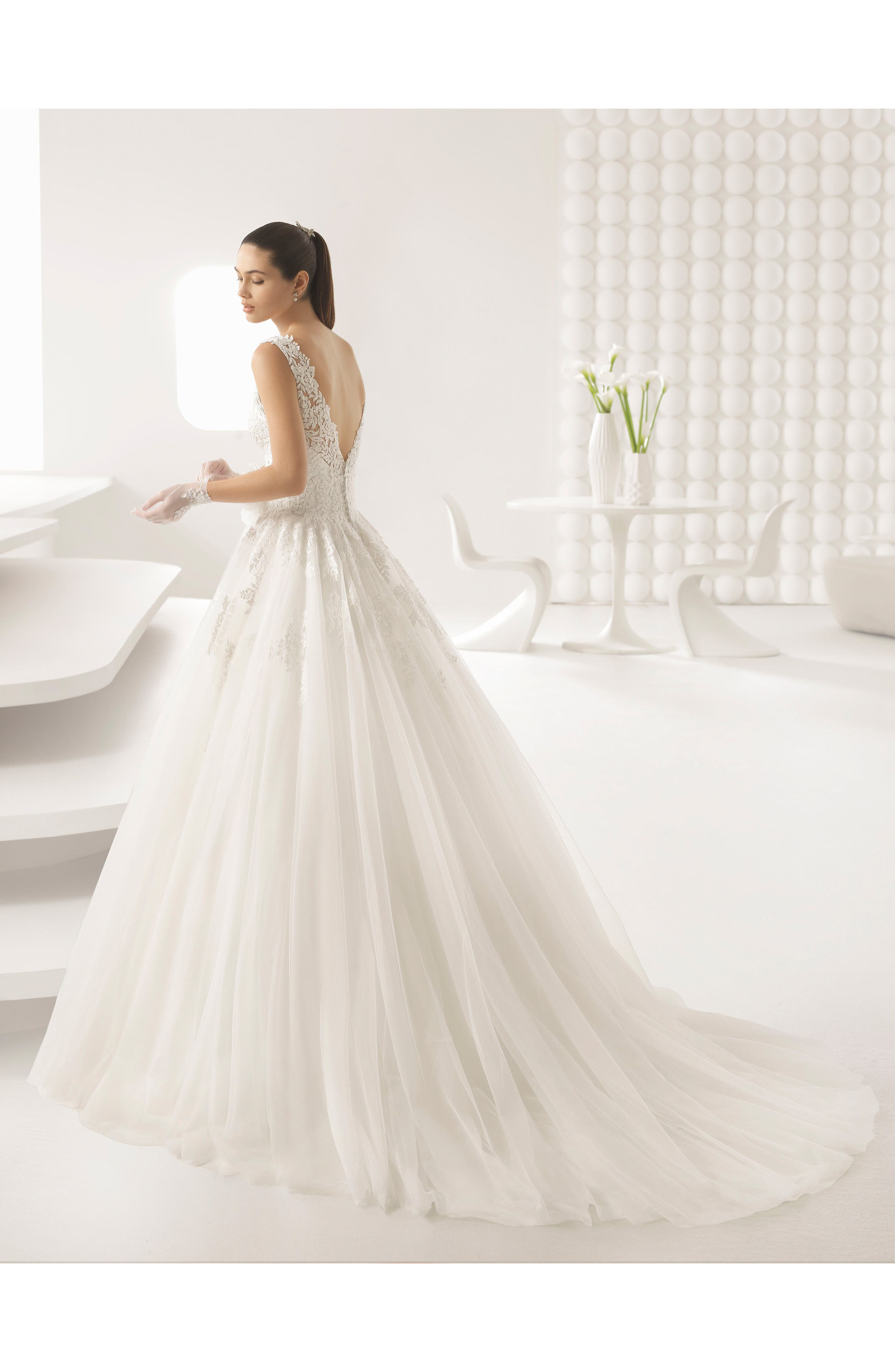 Octubre Lace & Tulle Ballgown,                             Alternate thumbnail 2, color,                             Natural