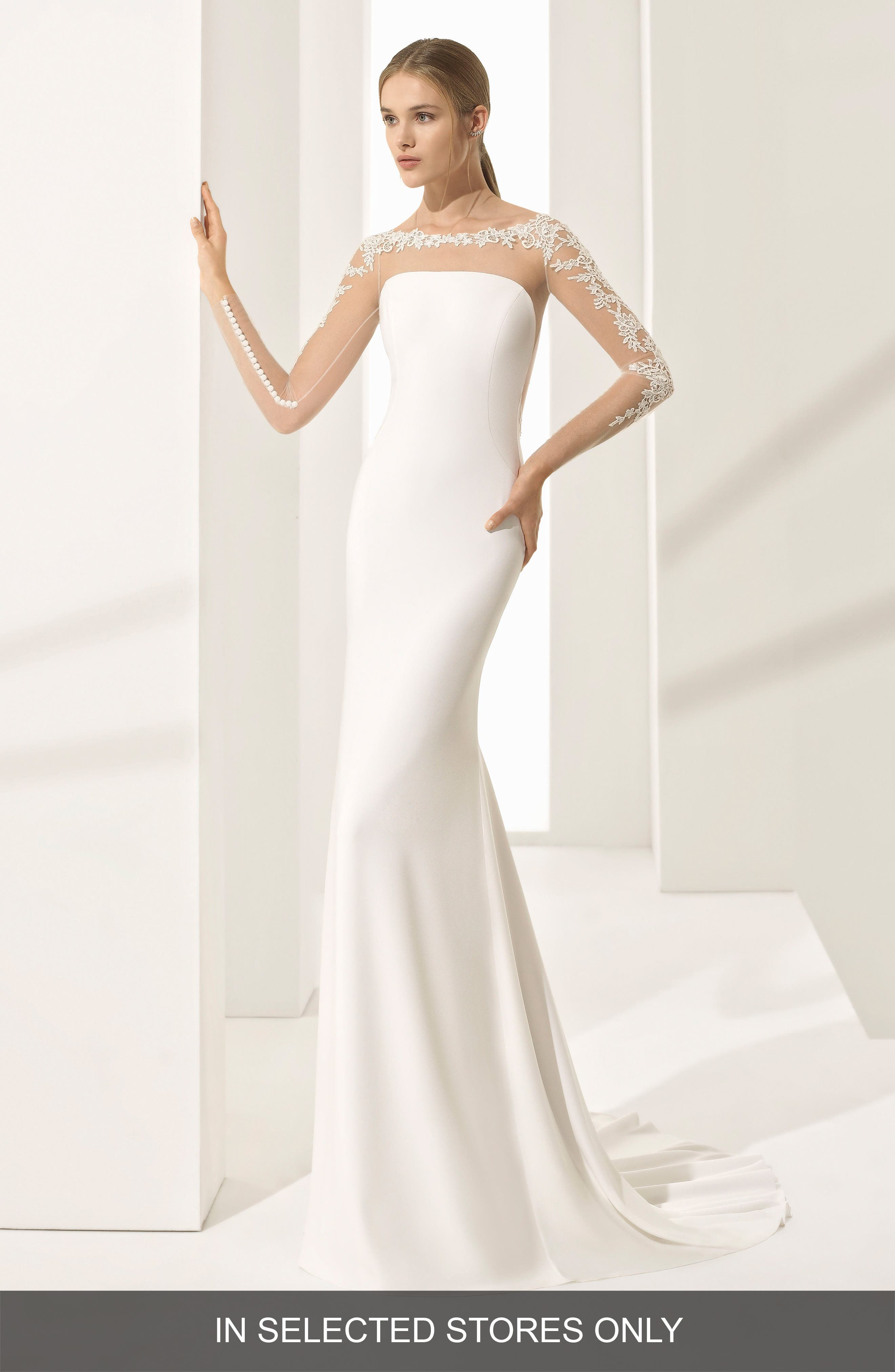 Parma Illusion Crepe Gown,                             Main thumbnail 1, color,                             Natural