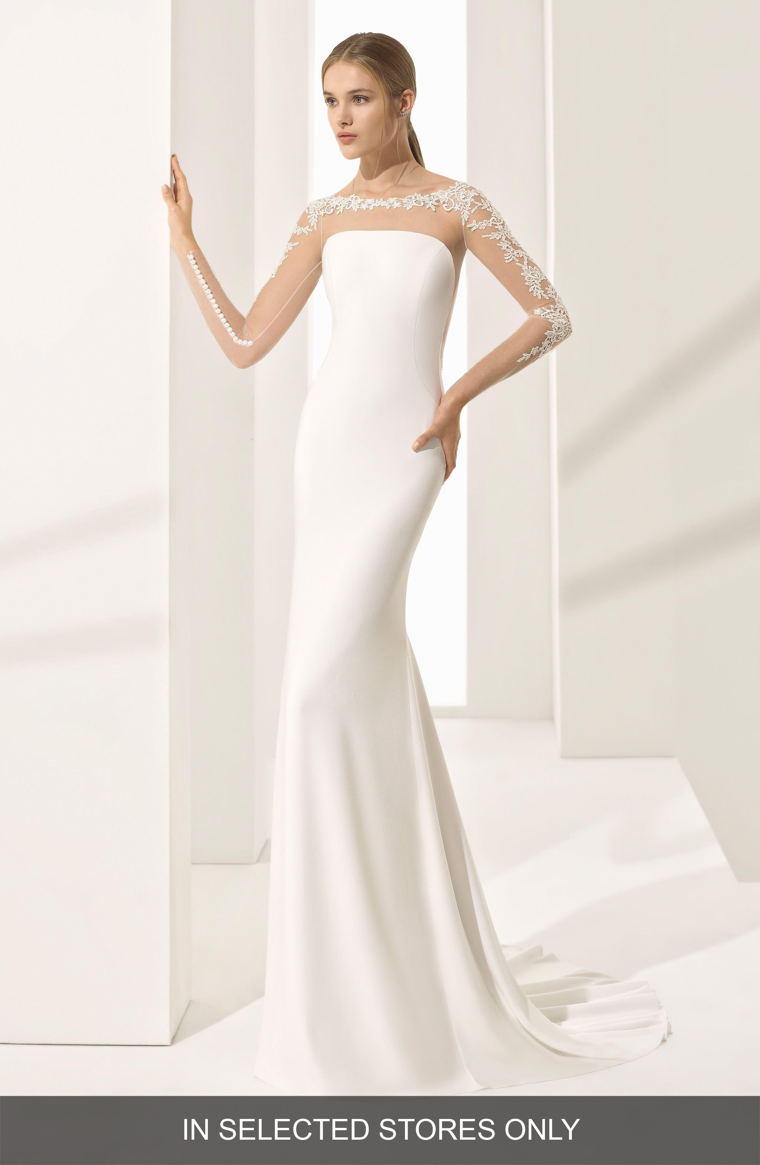 Parma Illusion Crepe Gown,                         Main,                         color, Natural
